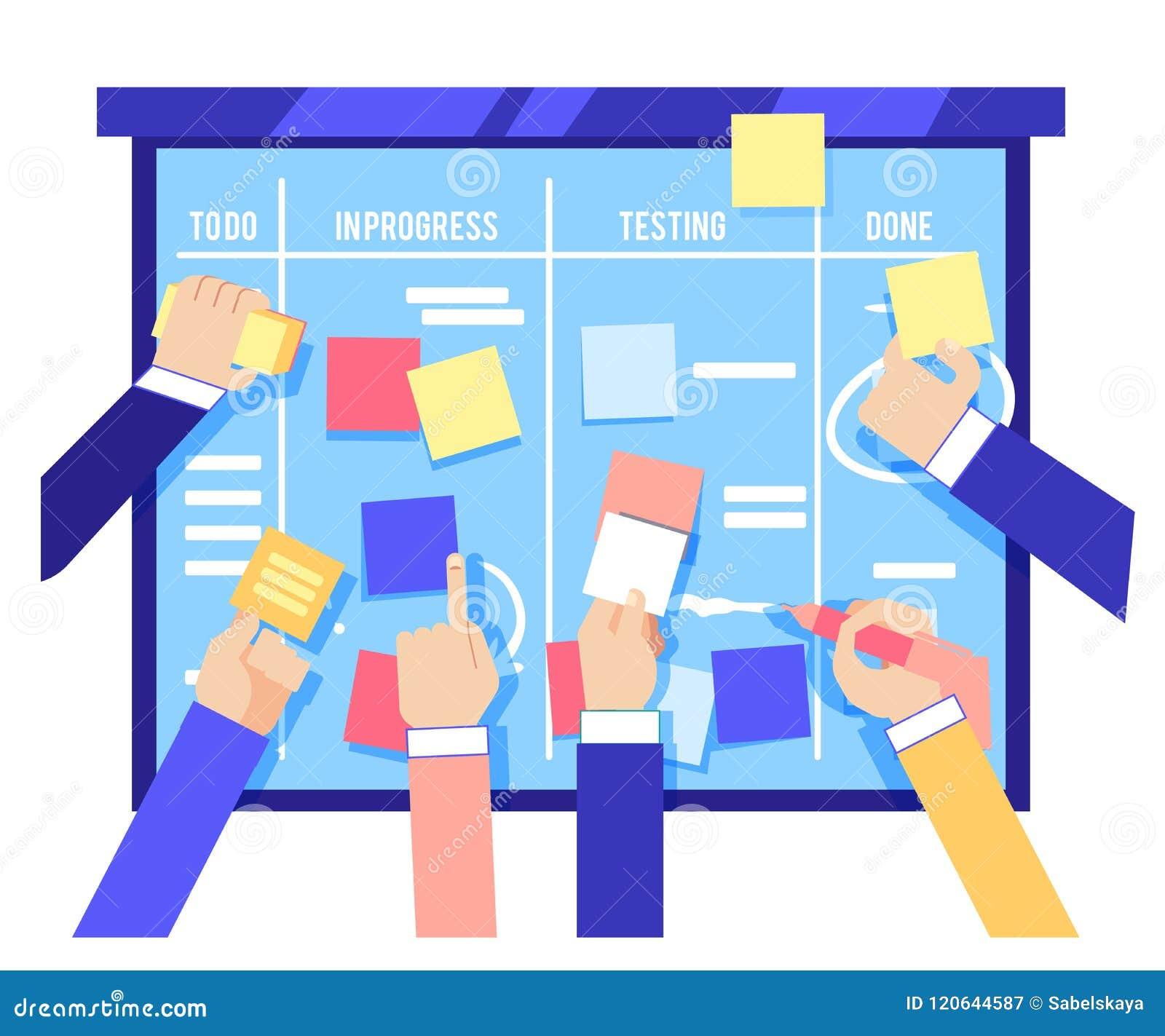 混乱委员会概念用黏附五颜六色的纸和写任务的人的手在蓝色委员会