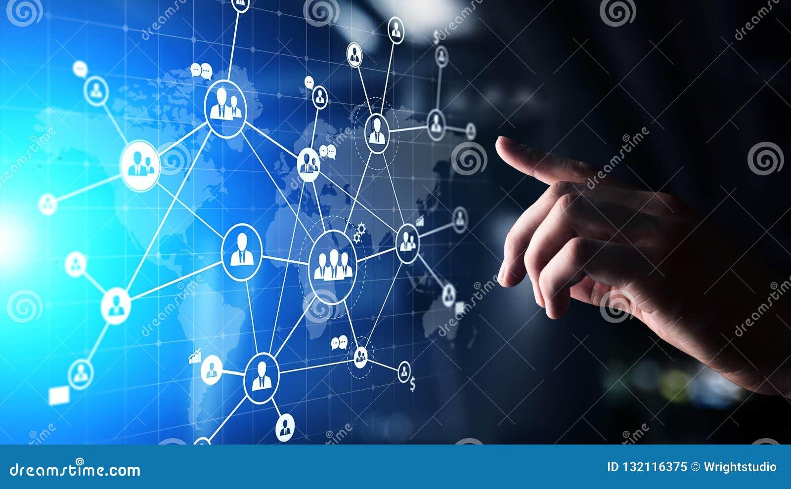 混合画法,HR、人力资源和全球性补充,在虚屏上的外包的概念