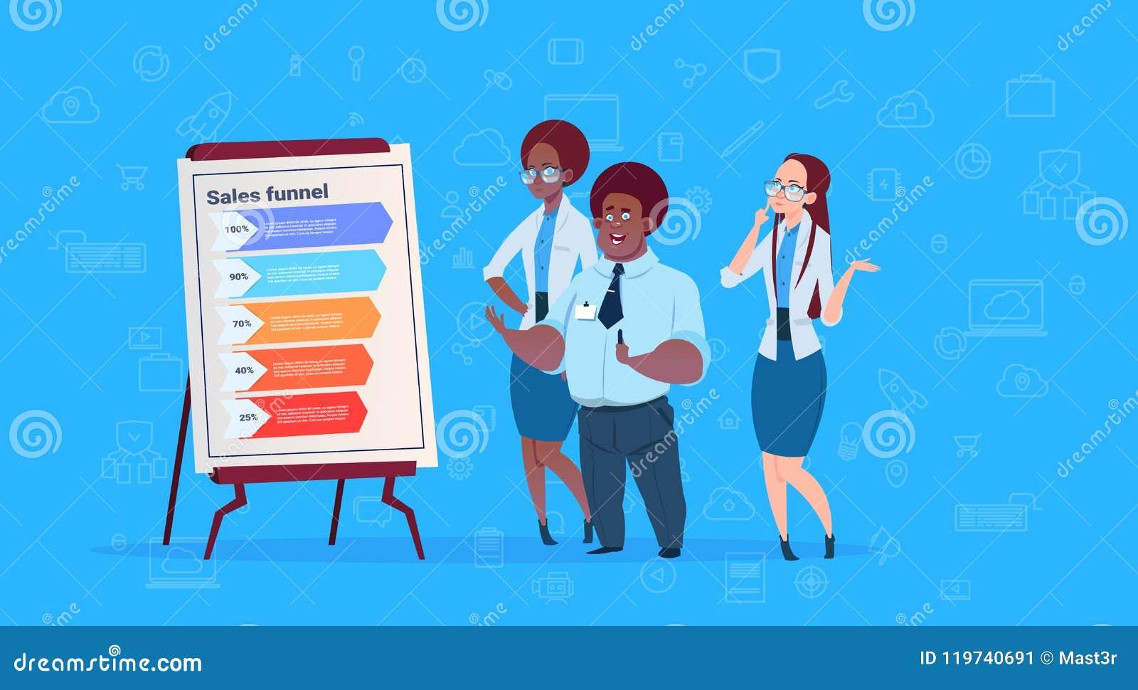 混合种族买卖人合作举行活动挂图数据云彩与步演员动作infographic结束蓝色的销售漏斗