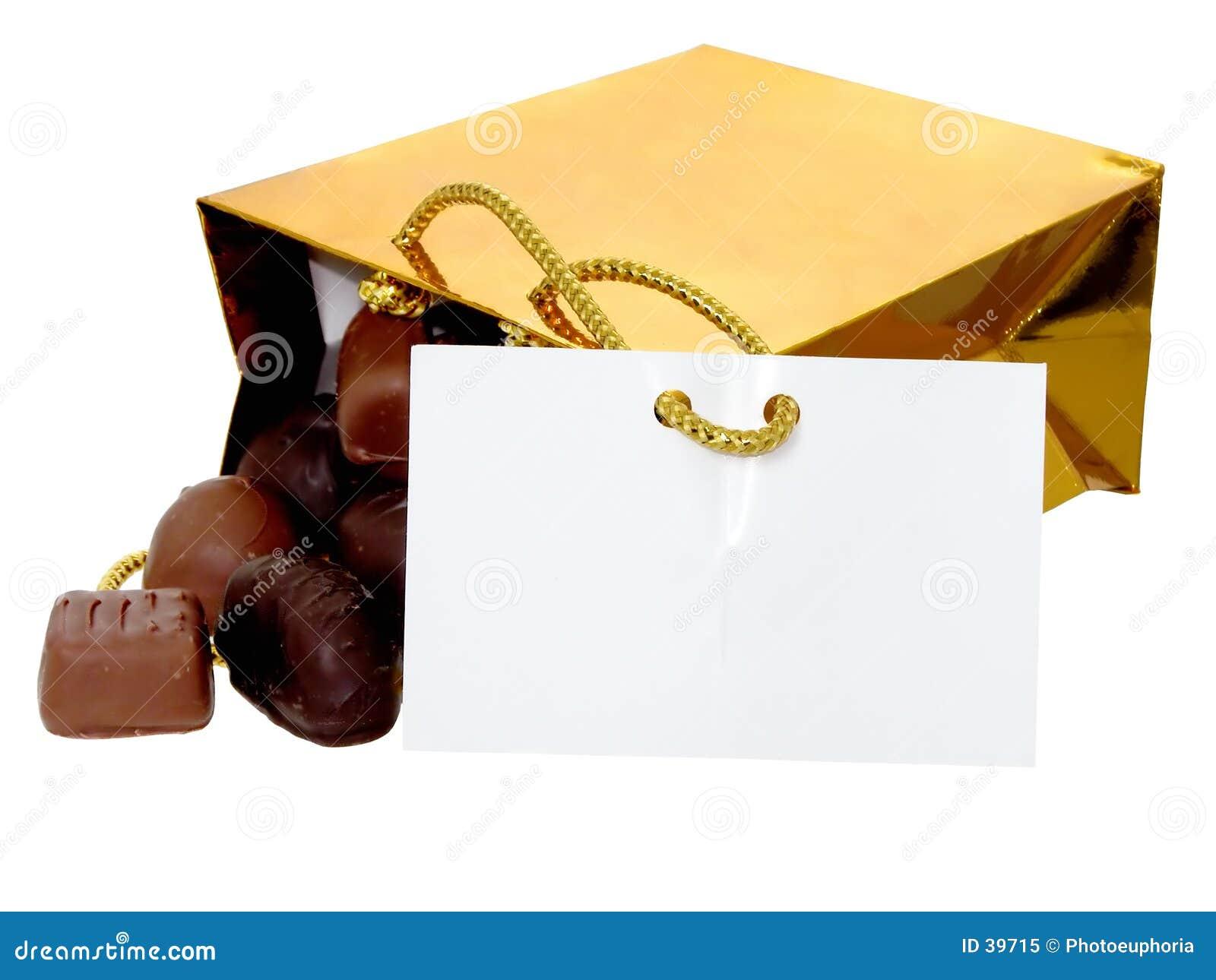 添加袋子巧克力文本