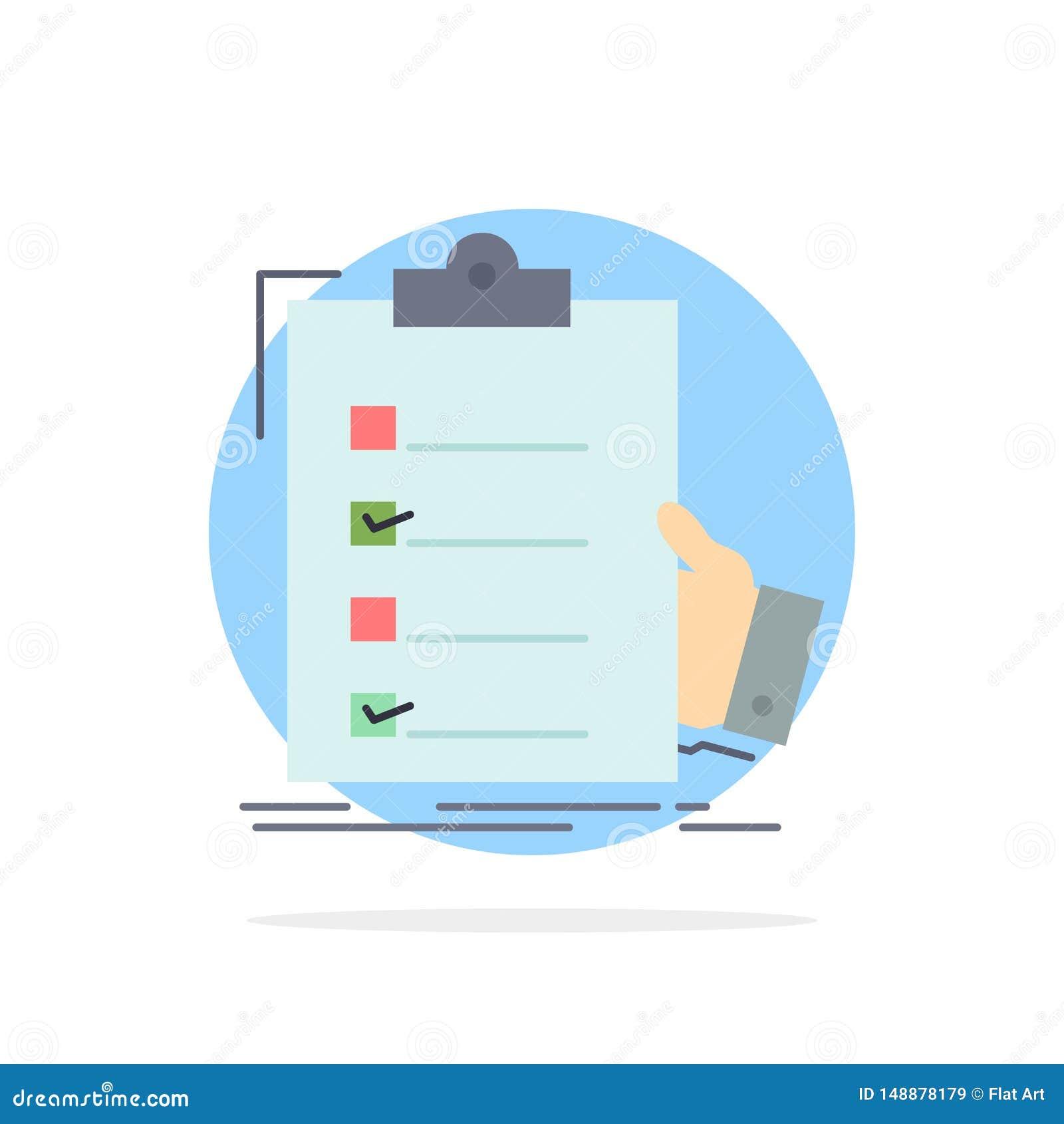 清单,检查,专门技术,名单,剪贴板平的颜色象传染媒介