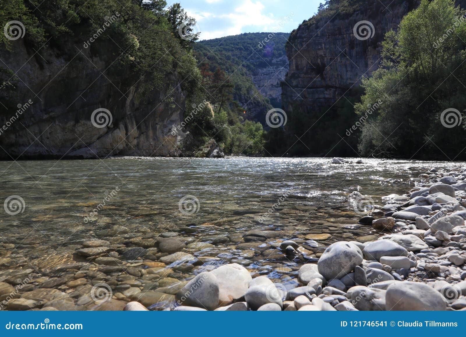 清楚的维登峡谷的特写镜头用法语普罗旺斯,维登du Gorges