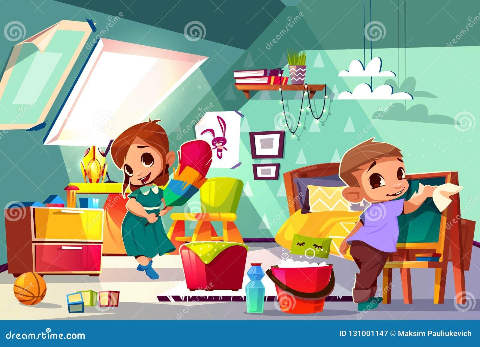 清洗在他们的屋子动画片传染媒介里的孩子