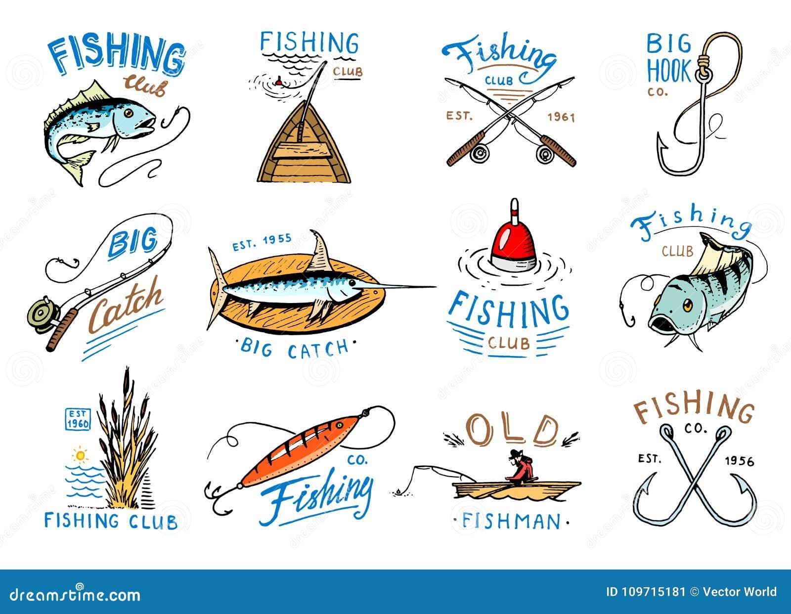 渔商标传染媒介与渔夫的渔场与catched鱼的略写法小船的和象征在fishingrod例证集合