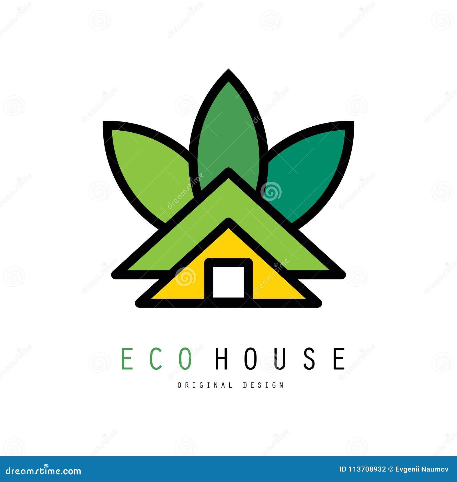 温室抽象传染媒介商标  Eco友好的家 修造的公司或房地产机构的原始的象征