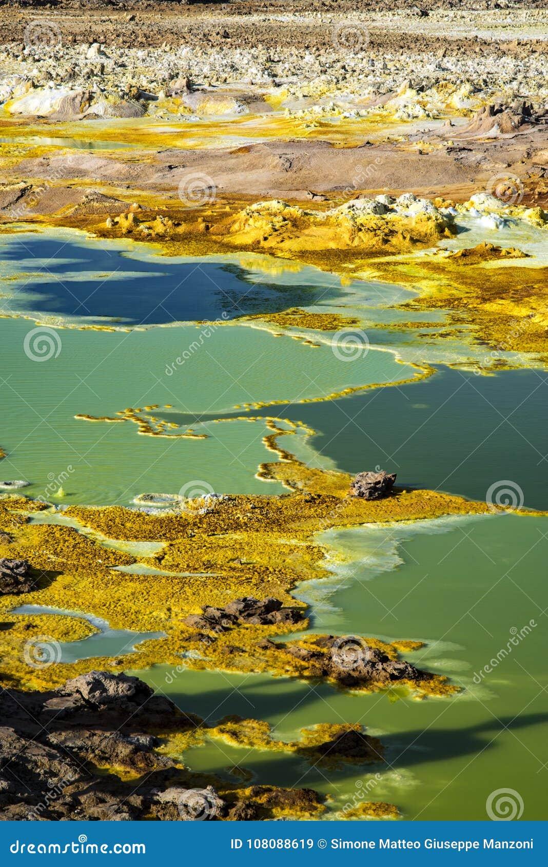 温泉城在Dallol, Danakil沙漠,埃塞俄比亚
