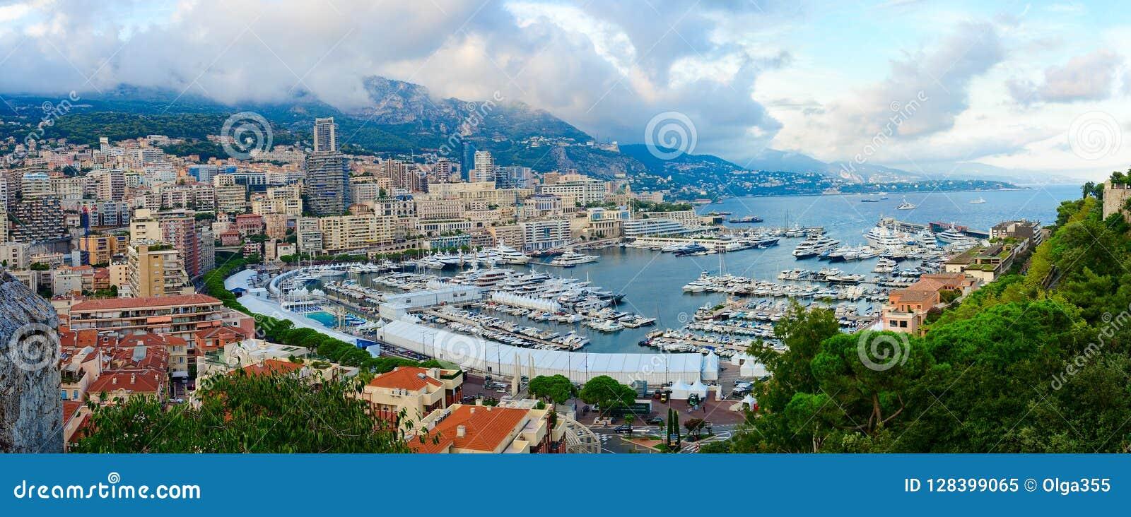 港区拉康达明和蒙地卡罗,摩纳哥的公国美好的全景