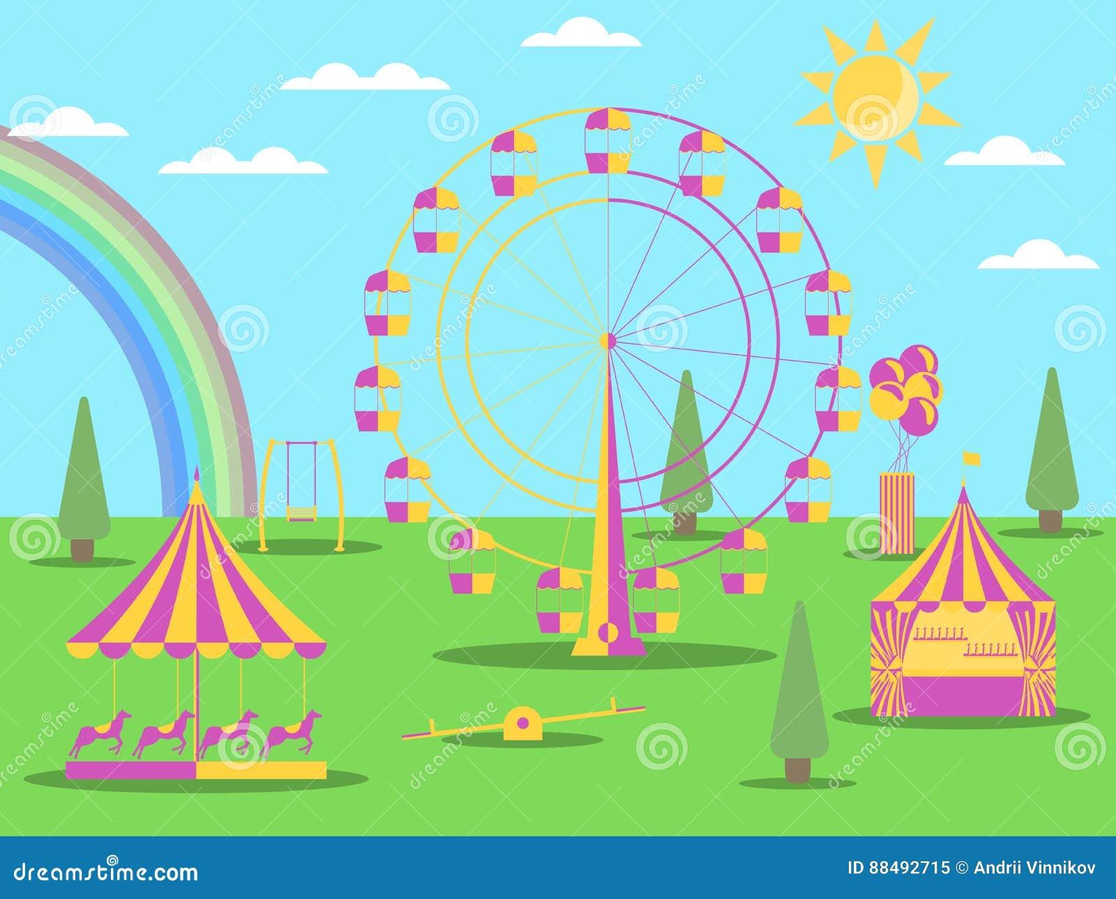 游乐园平的样式 弗累斯大转轮、一个旋转木马有马的和摇摆 与彩虹的晴朗的天气 向量