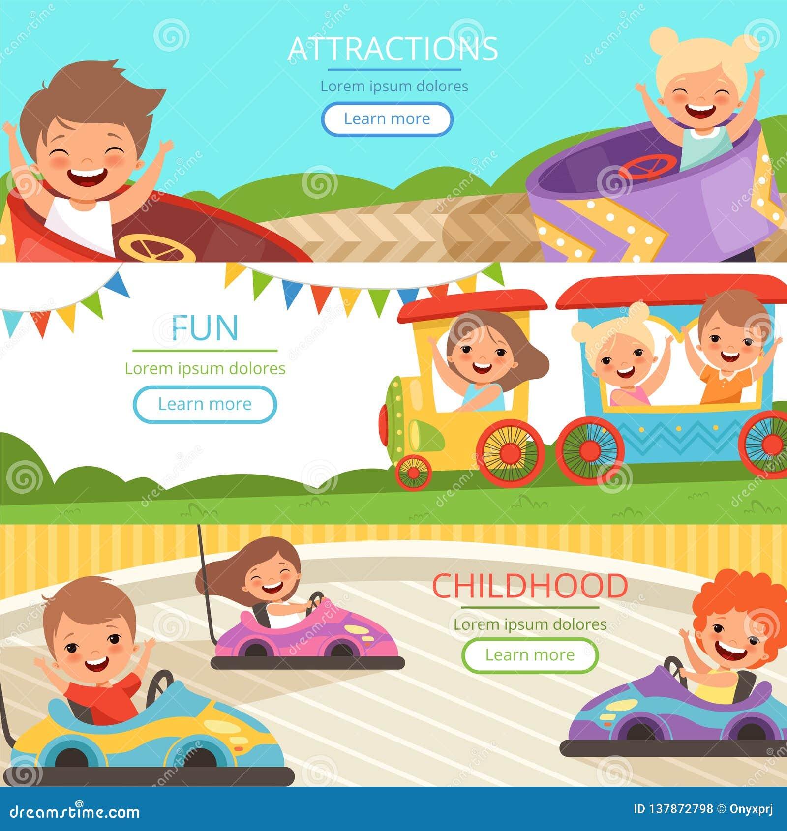 游乐园横幅 走和打在另外吸引力传染媒介动画片模板的家庭和愉快的孩子比赛