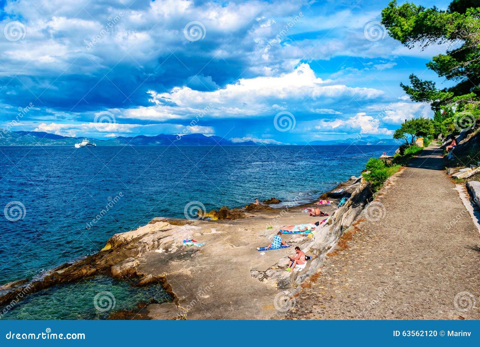 游泳和晒日光浴在岩石的人们在南克罗地亚