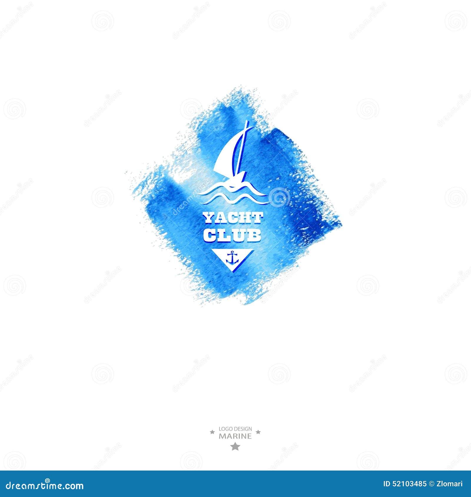 游艇俱乐部商标 水彩