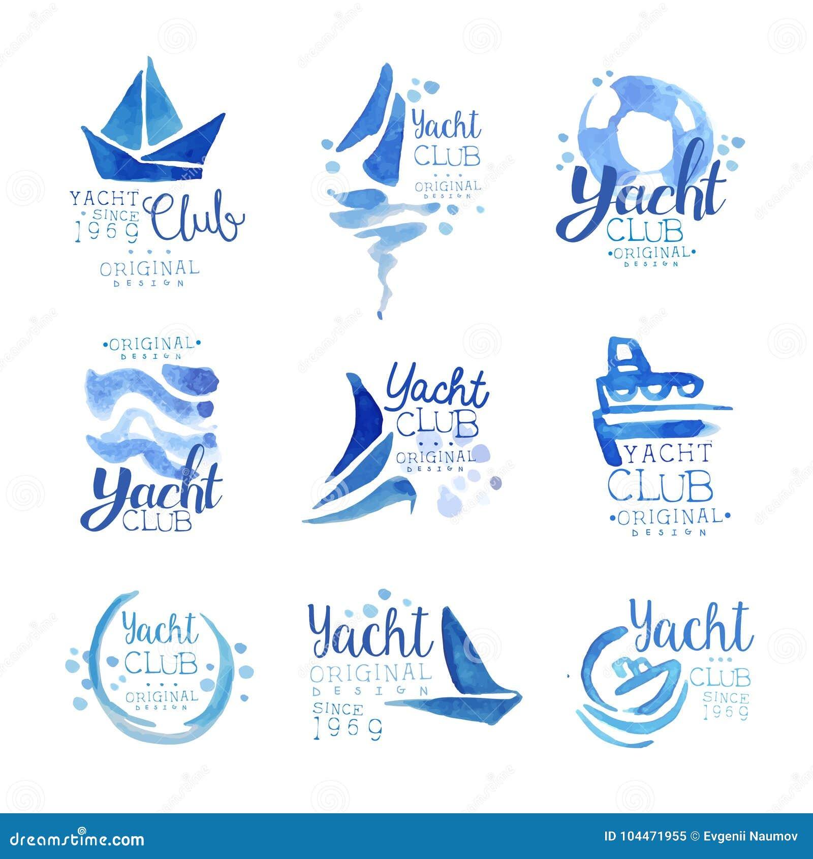 游艇俱乐部自1969年商标原始的设计集合,元素公司商标,企业身分蓝色水彩传染媒介以来