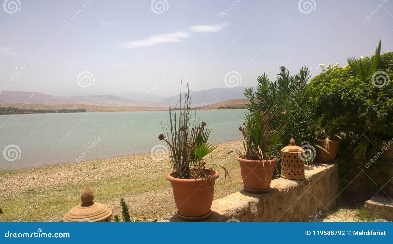 湖Lalla Takerkoust,马拉喀什-摩洛哥
