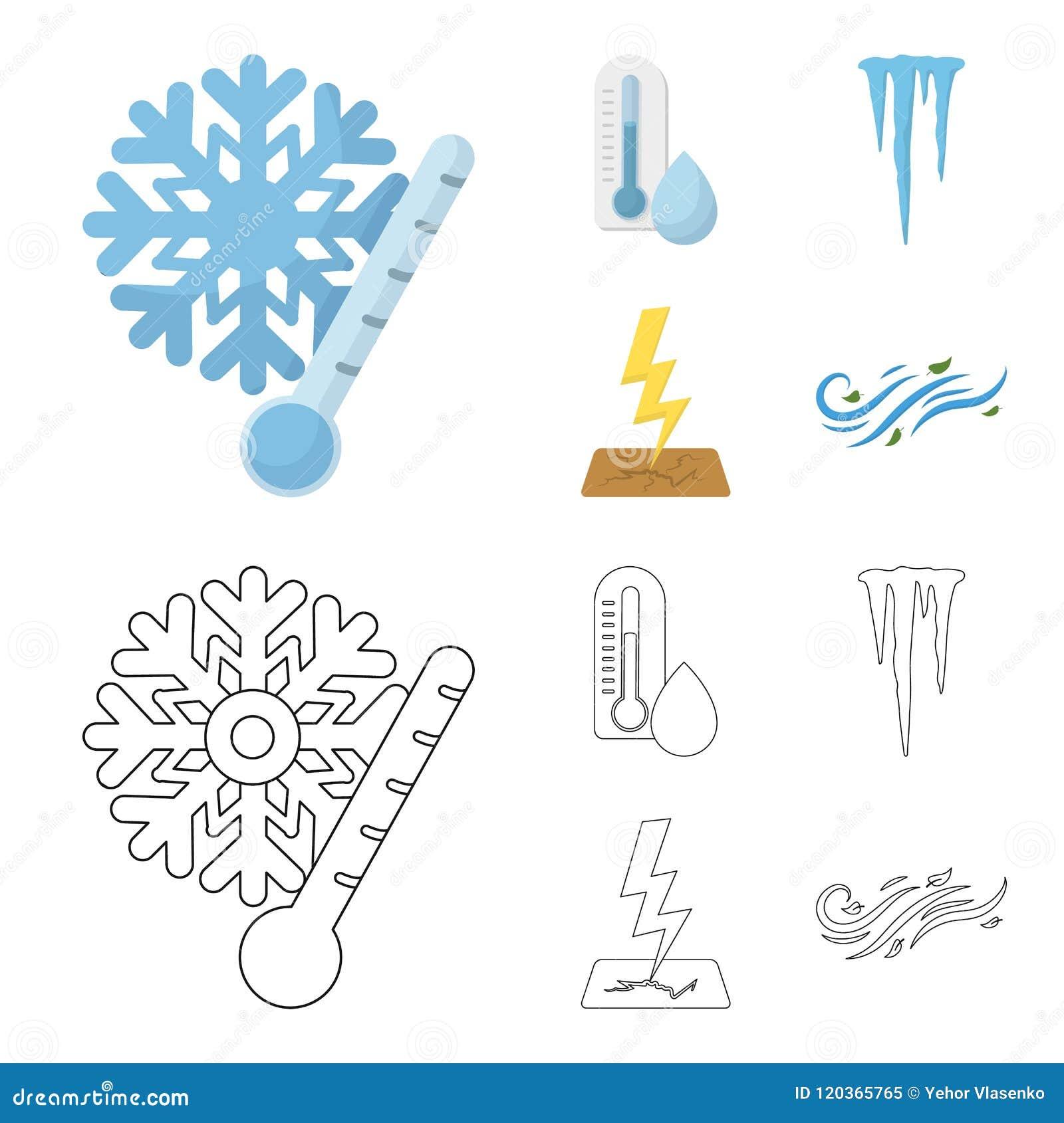 湿气,冰柱,雷电,刮风的天气 在动画片,概述样式传染媒介标志股票的天气集合汇集象