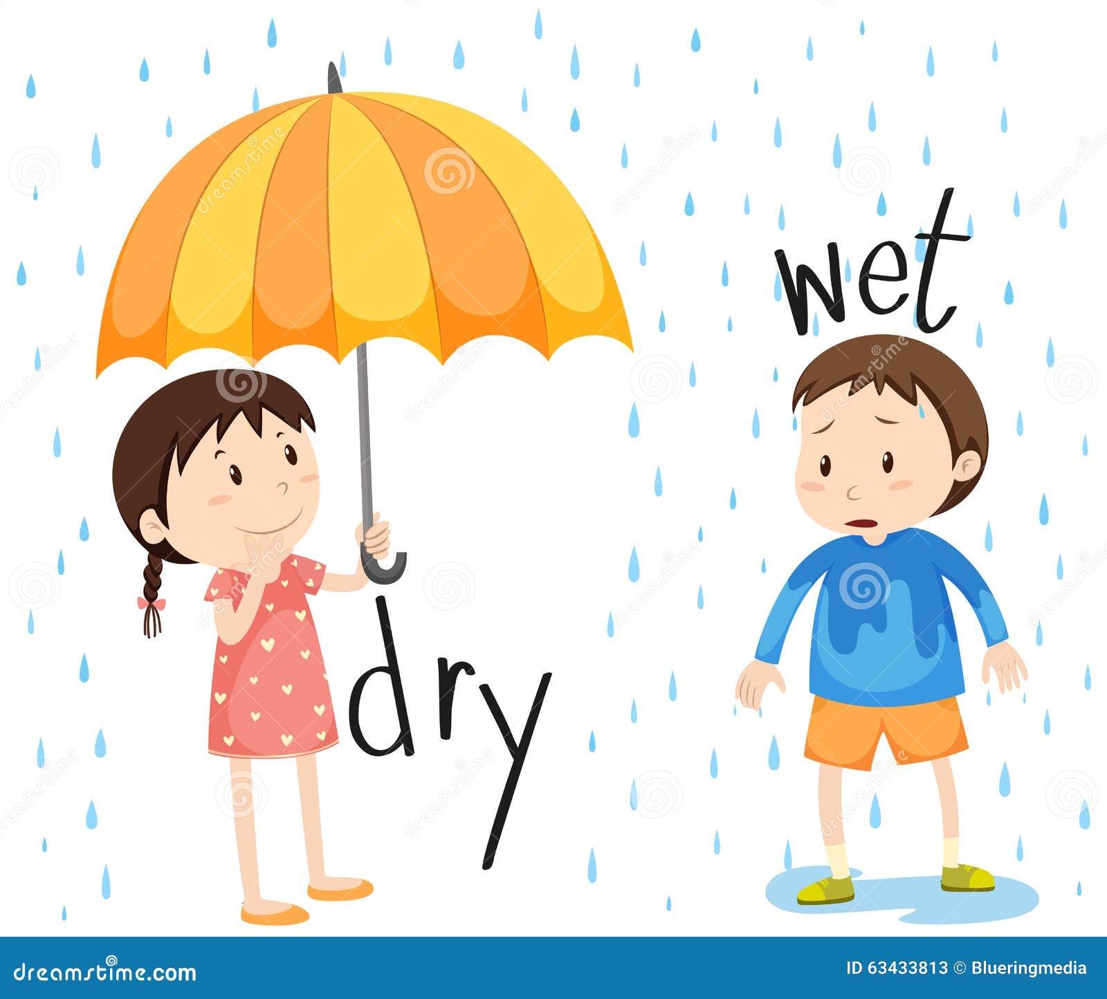 湿相反的形容词干燥和 向量例证 插画 包括有 空白 暴雨 照片 微笑 查出 下雨 女孩 浸泡