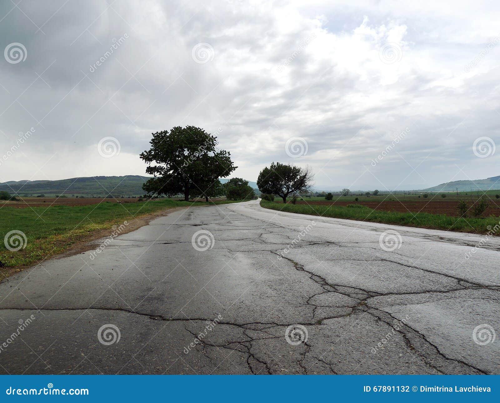 湿空的路在阴沉的天