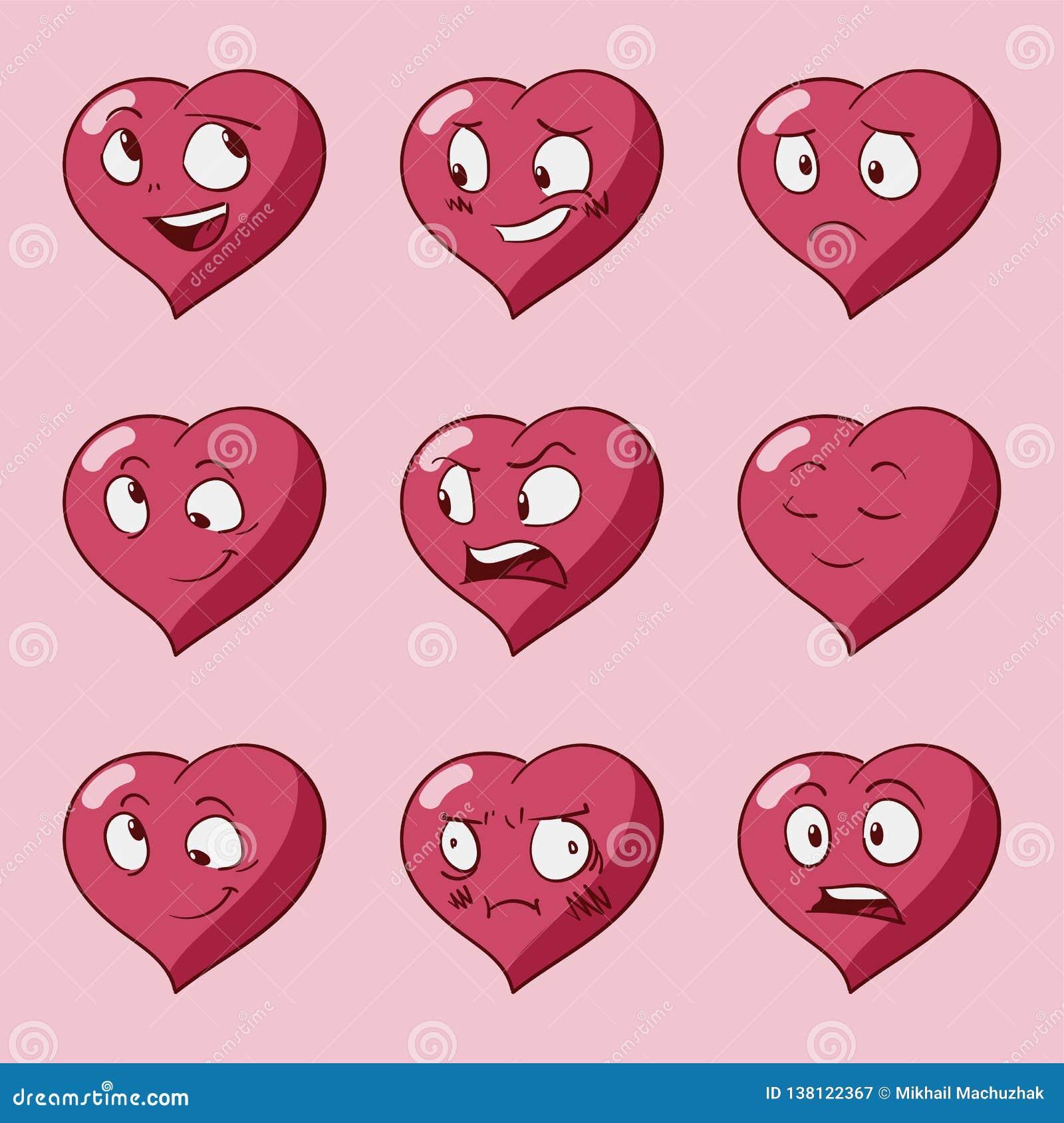 滑稽的动画片心脏字符情感集合,圣华伦泰导航象,被隔绝