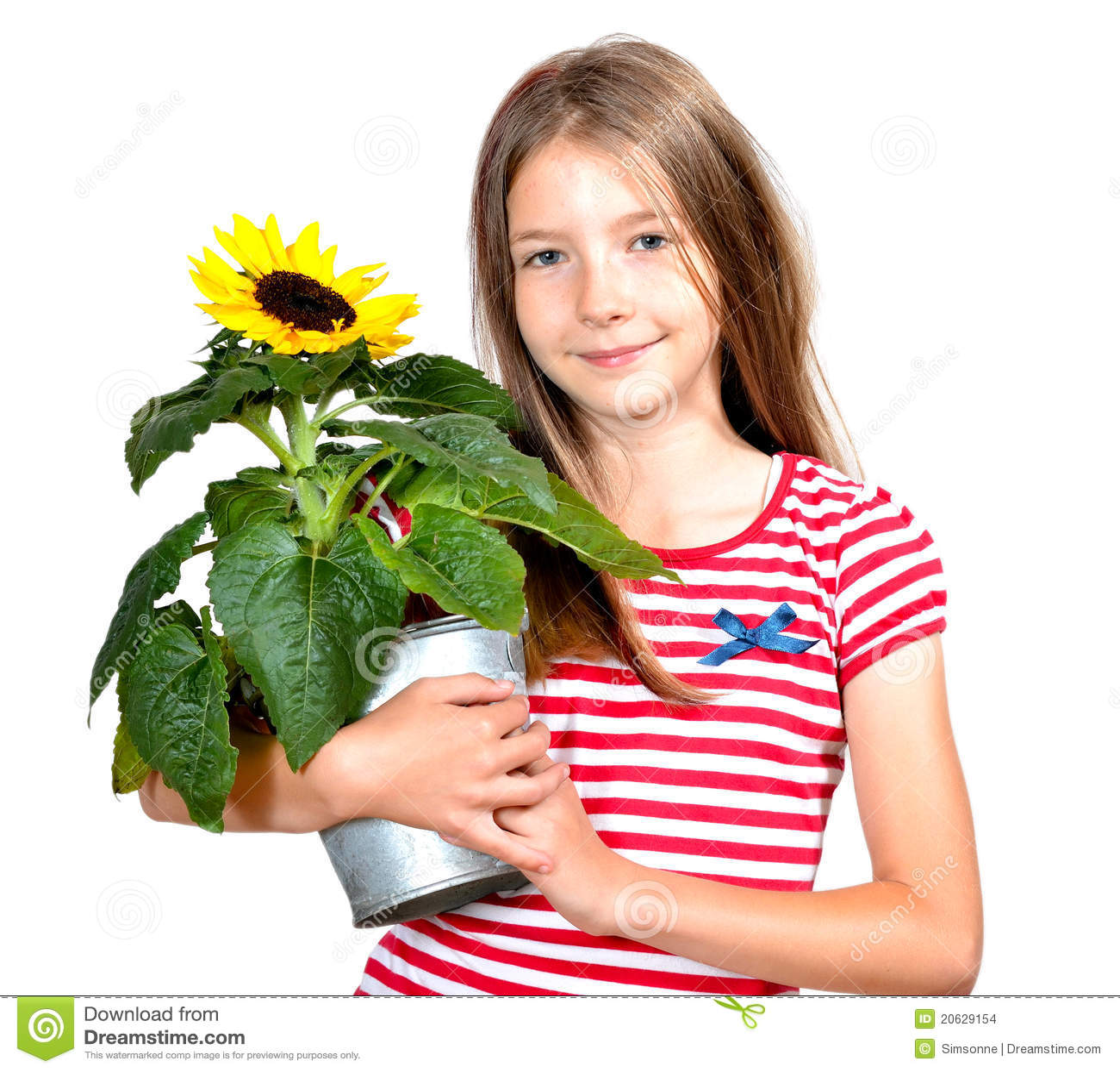 滑稽的女孩向日葵