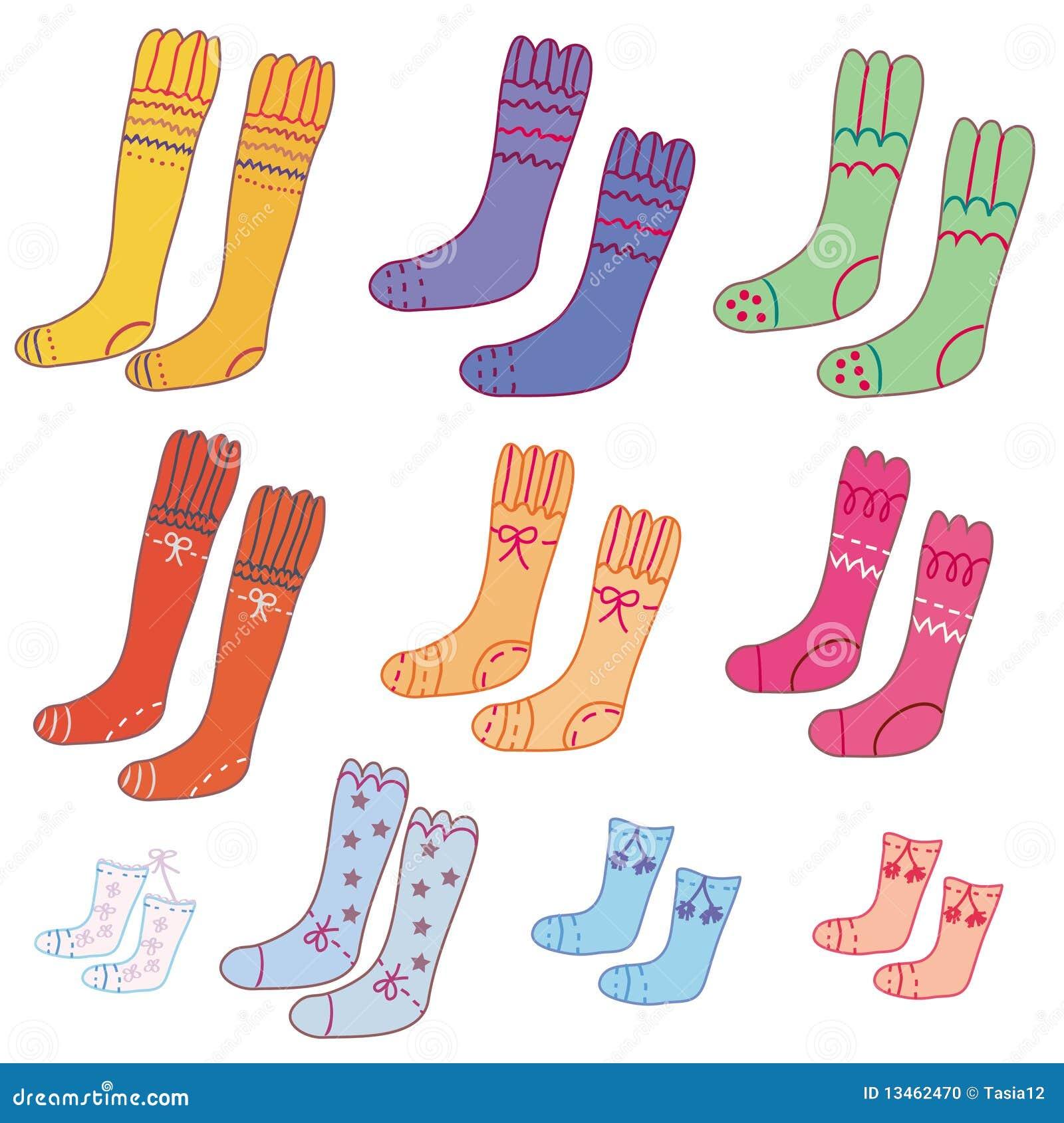 滑稽的对被设置的袜子