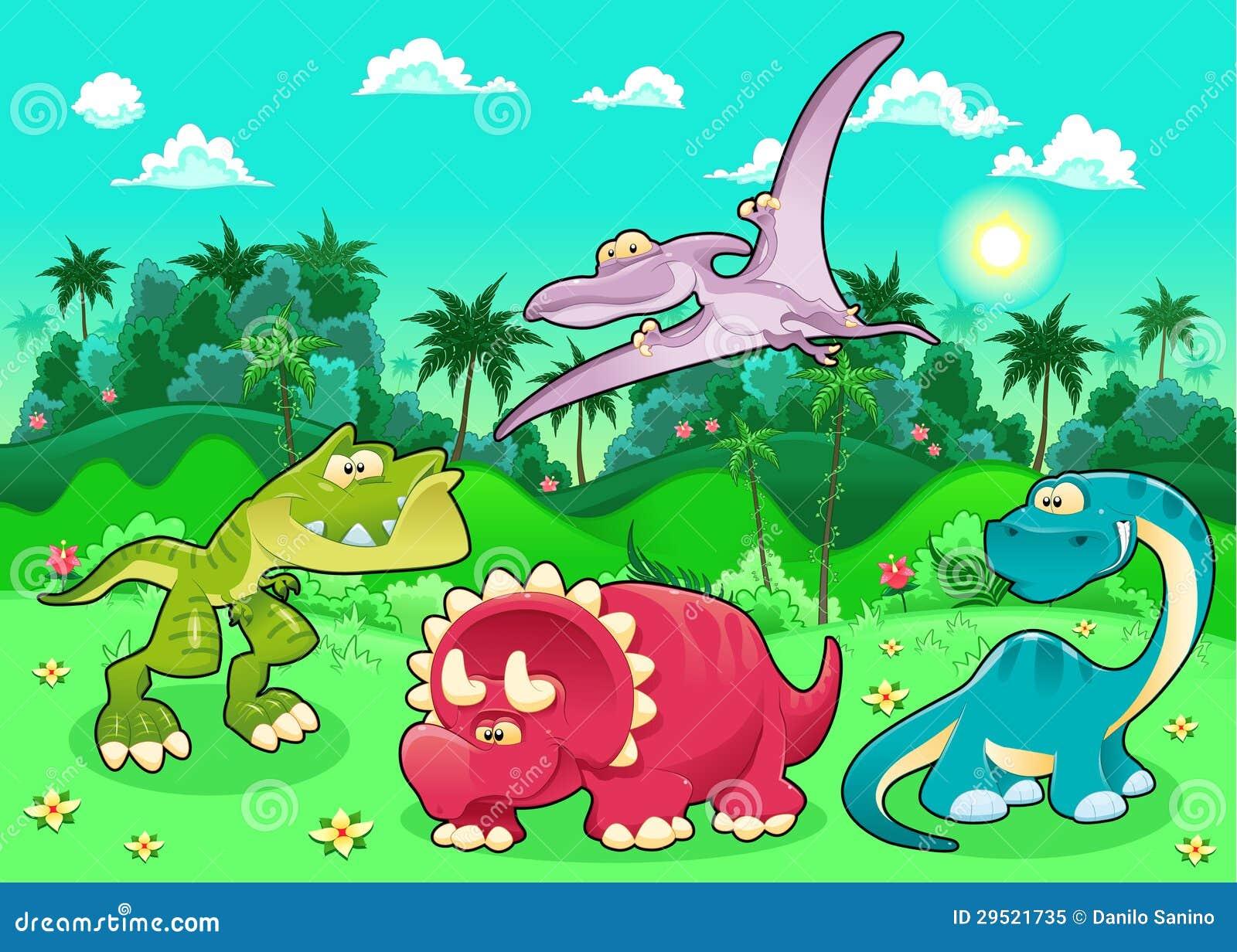 滑稽的恐龙在森林里。