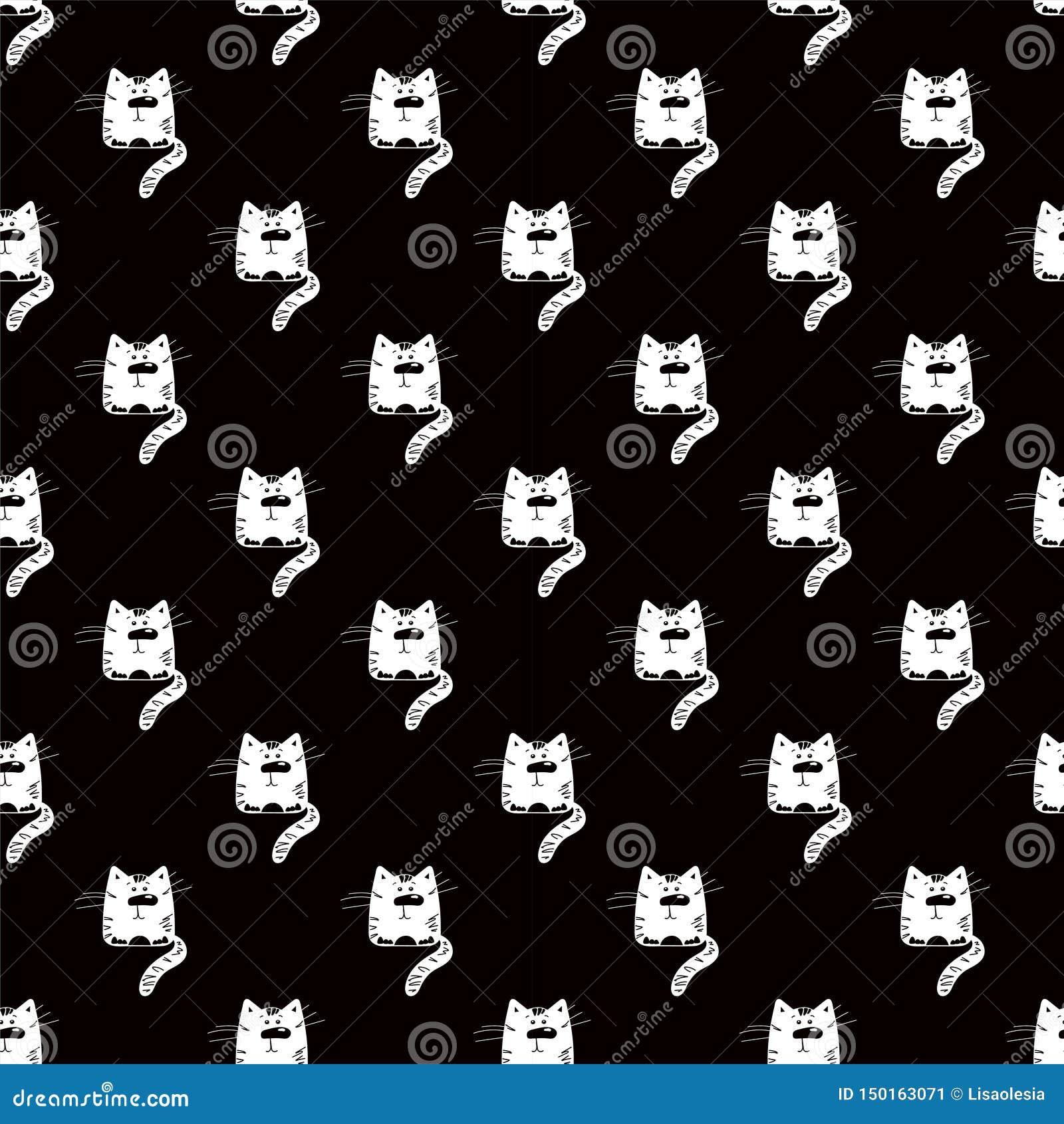 滑稽的猫 E 动画片动物的剪影 与宠物小猫的纺织品设计