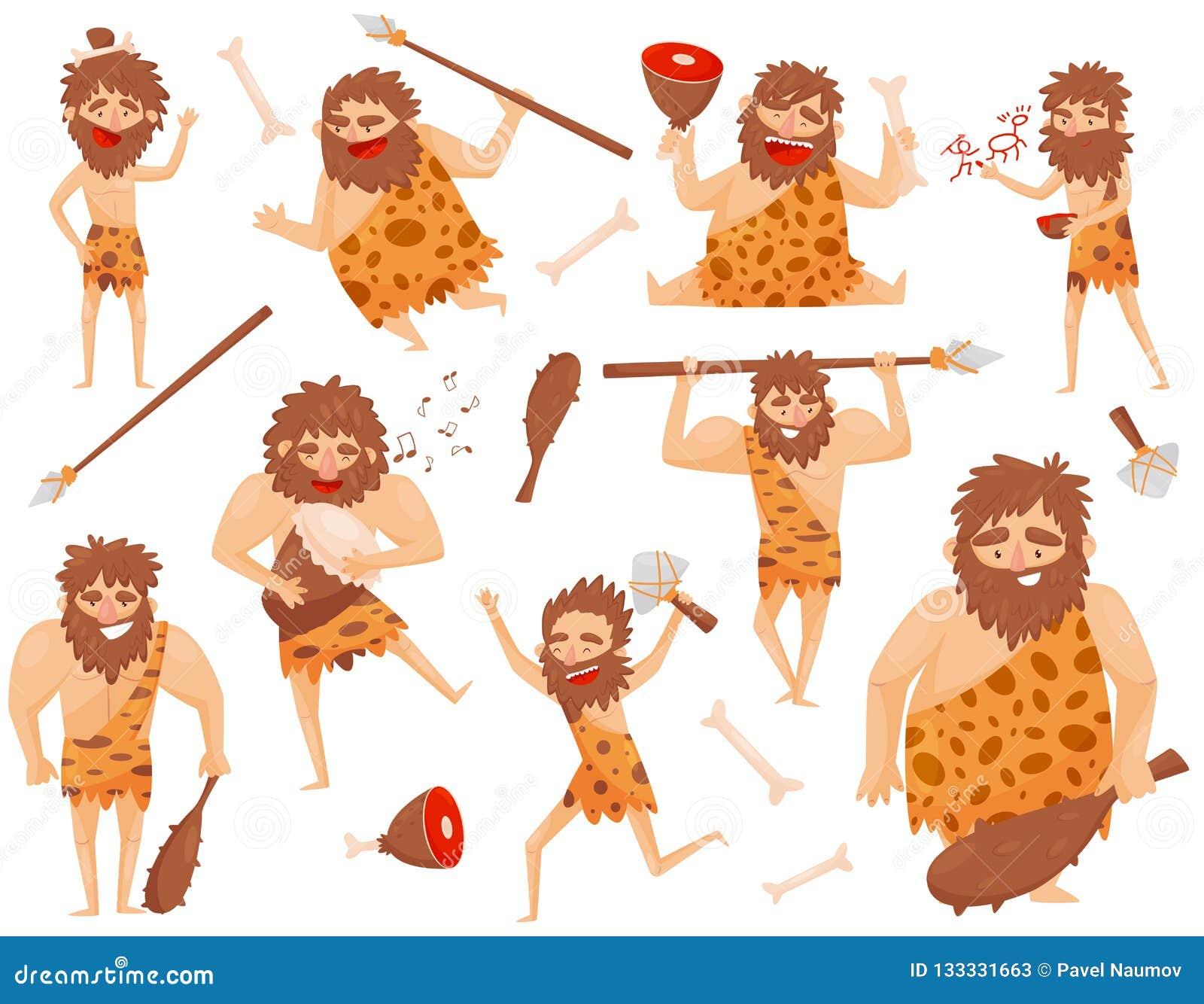 滑稽的石器时期史前人用被设置的不同的情况,原始穴居人卡通人物传染媒介例证