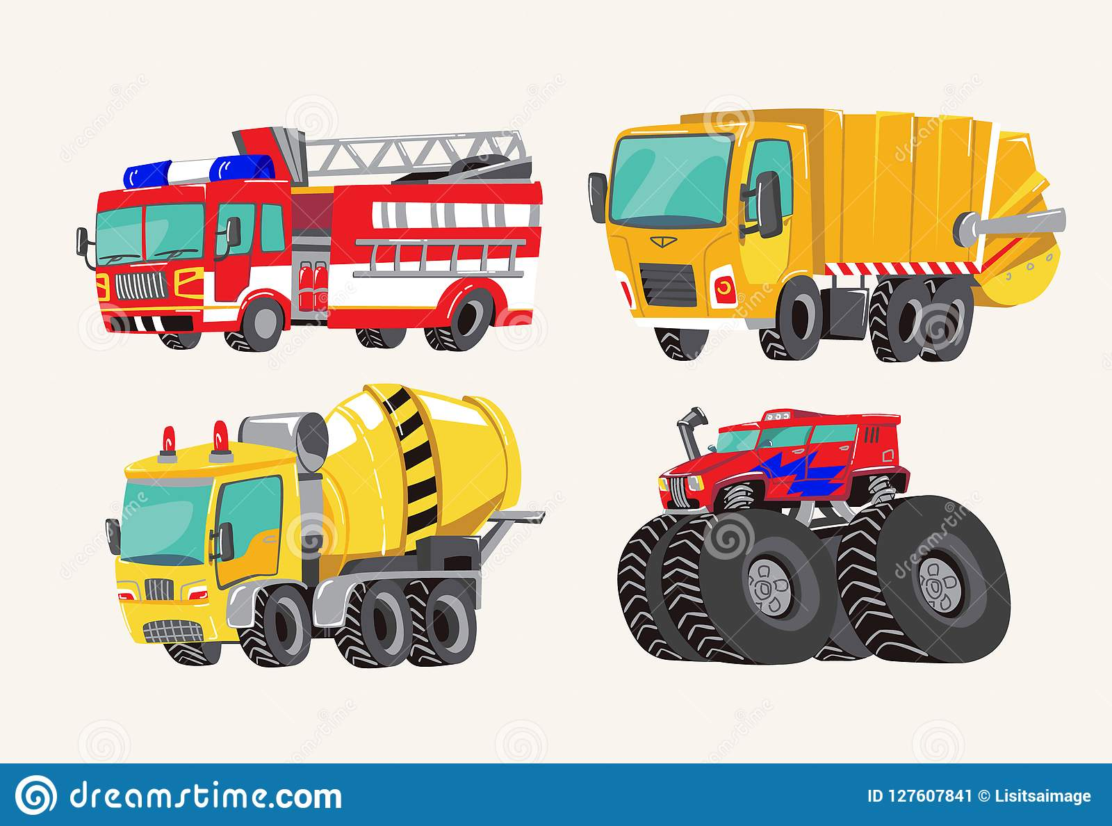 滑稽的逗人喜爱的手拉的动画片车 明亮的动画片消防车,消防车,垃圾车,混凝土搅拌机卡车,和