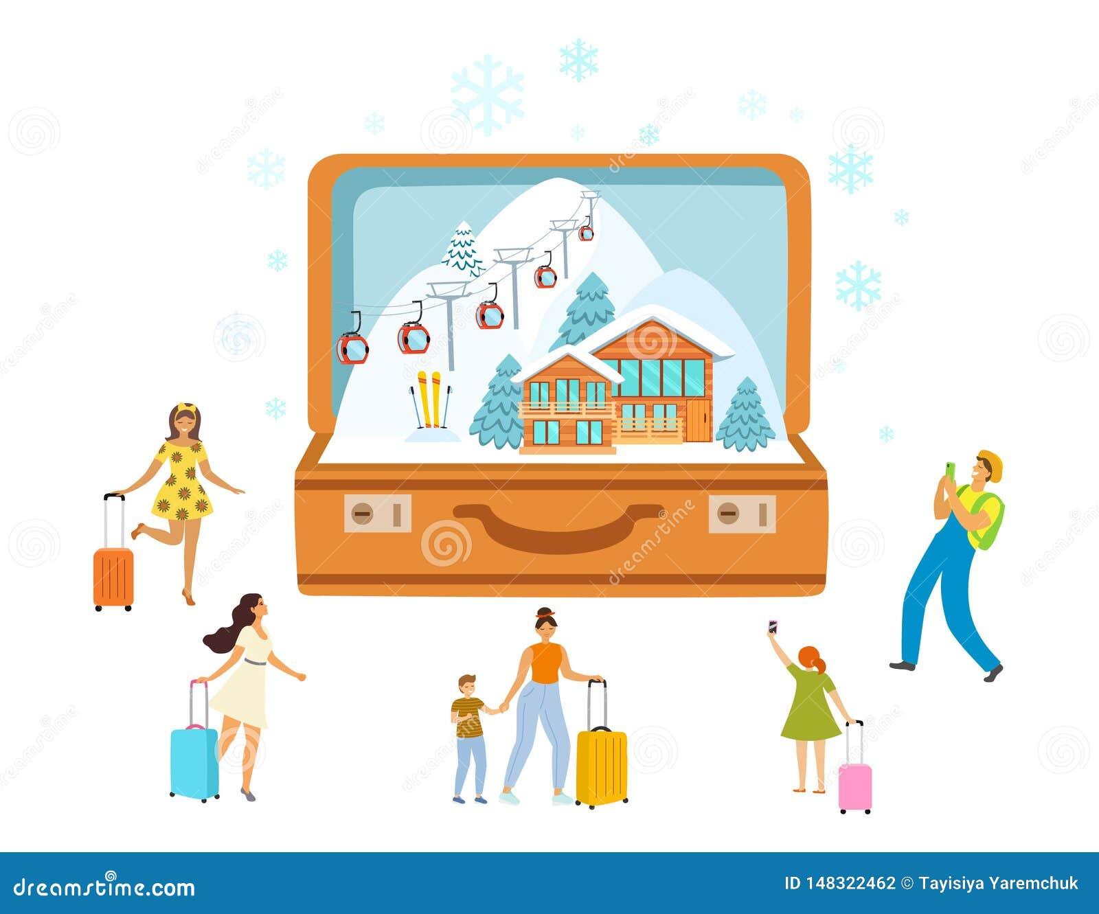 滑雪场、旅行、旅游业带着开放手提箱和微型人民,现代平的样式 r