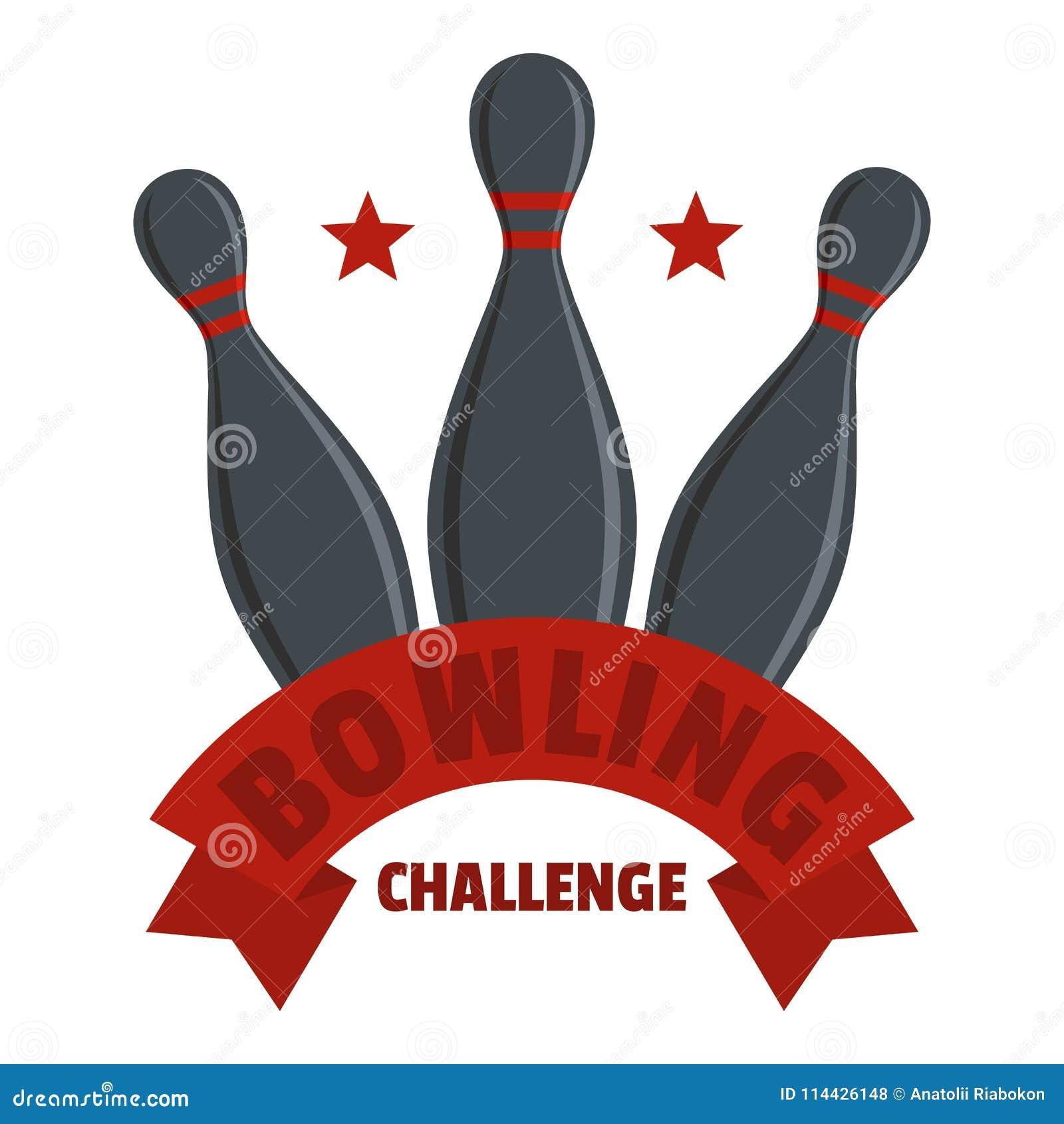 滚保龄球的挑战商标,平的样式