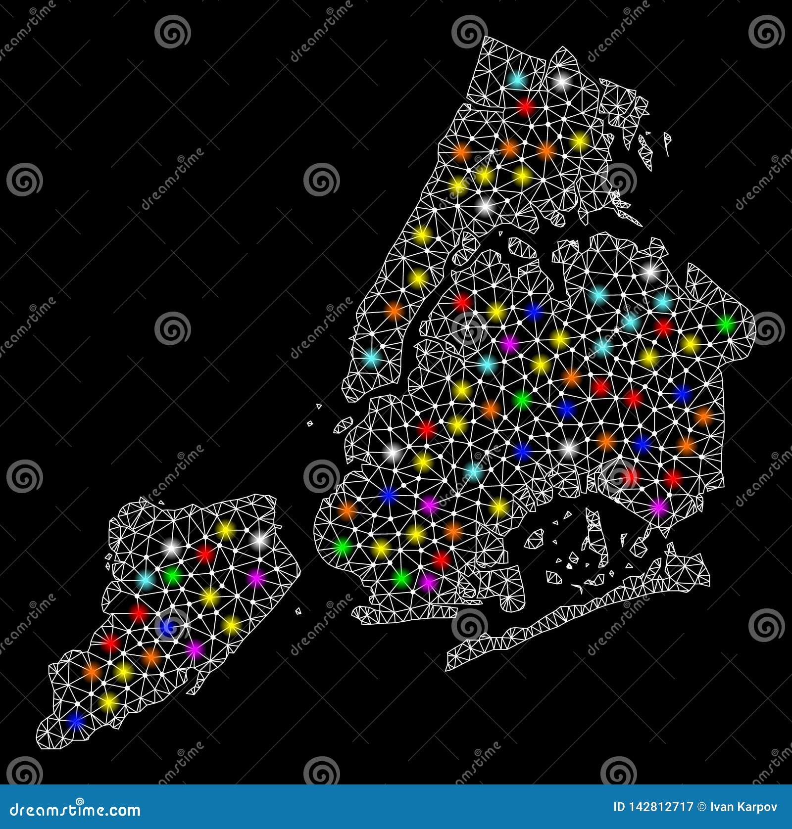 滤网导线纽约框架地图有明亮的亮点的