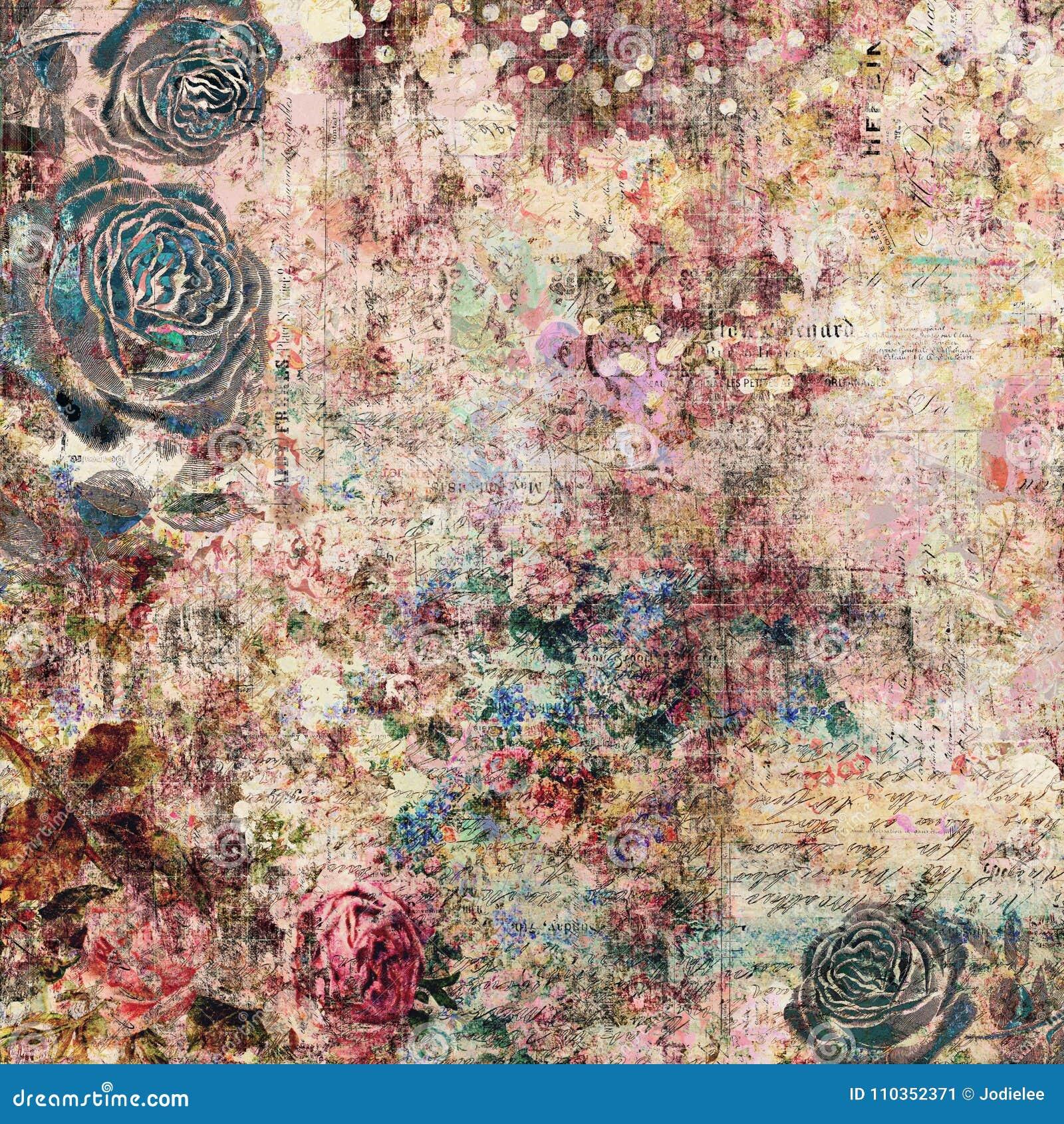 漂泊吉普赛花卉古色古香的与玫瑰的葡萄酒脏的破旧的别致的艺术性的抽象图解背景