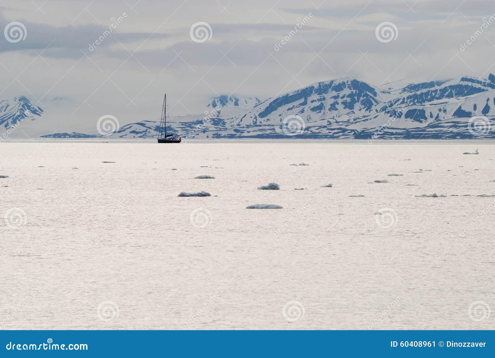 漂浮在北极海的冰山在斯瓦尔巴特群岛