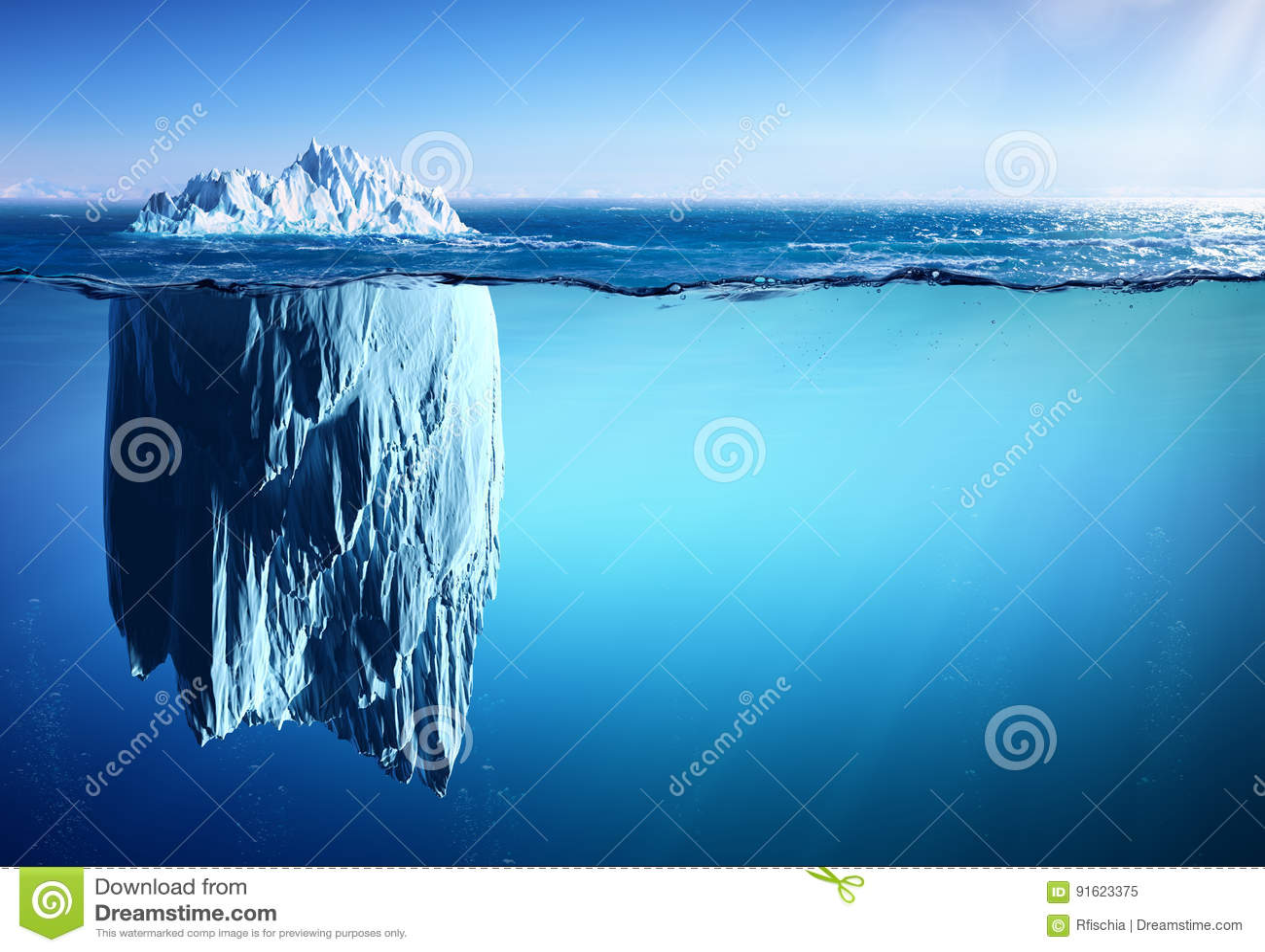 漂浮在海出现和全球性变暖的冰山