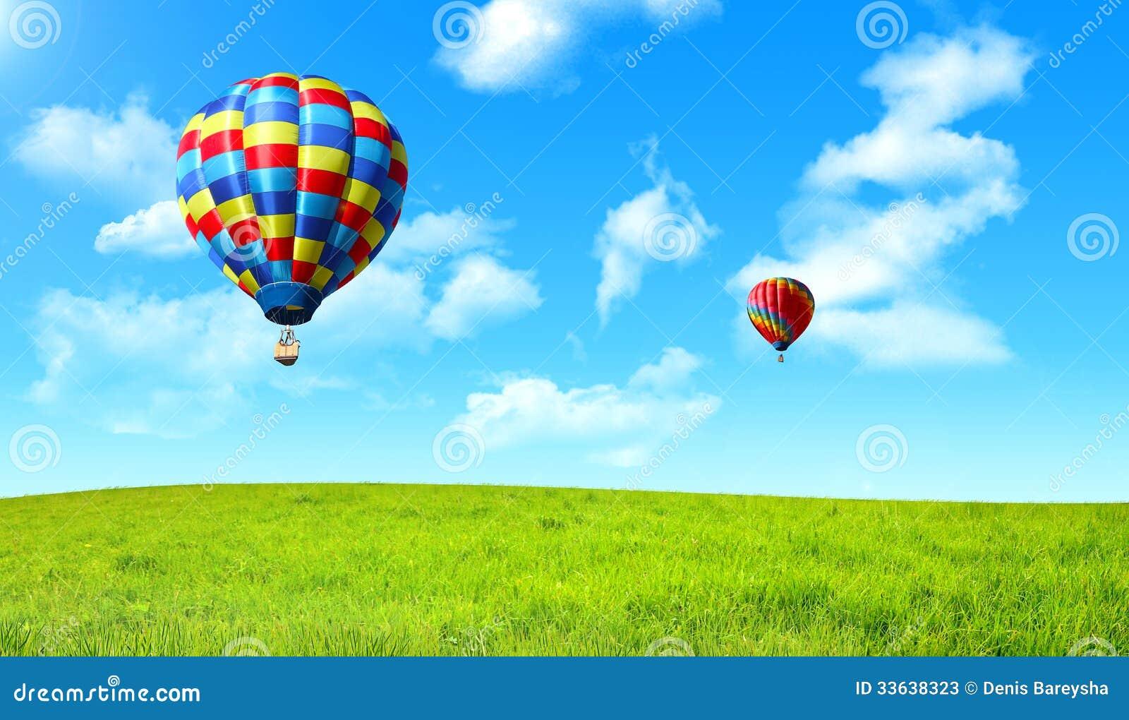 漂浮在绿色领域的天空的热空气气球