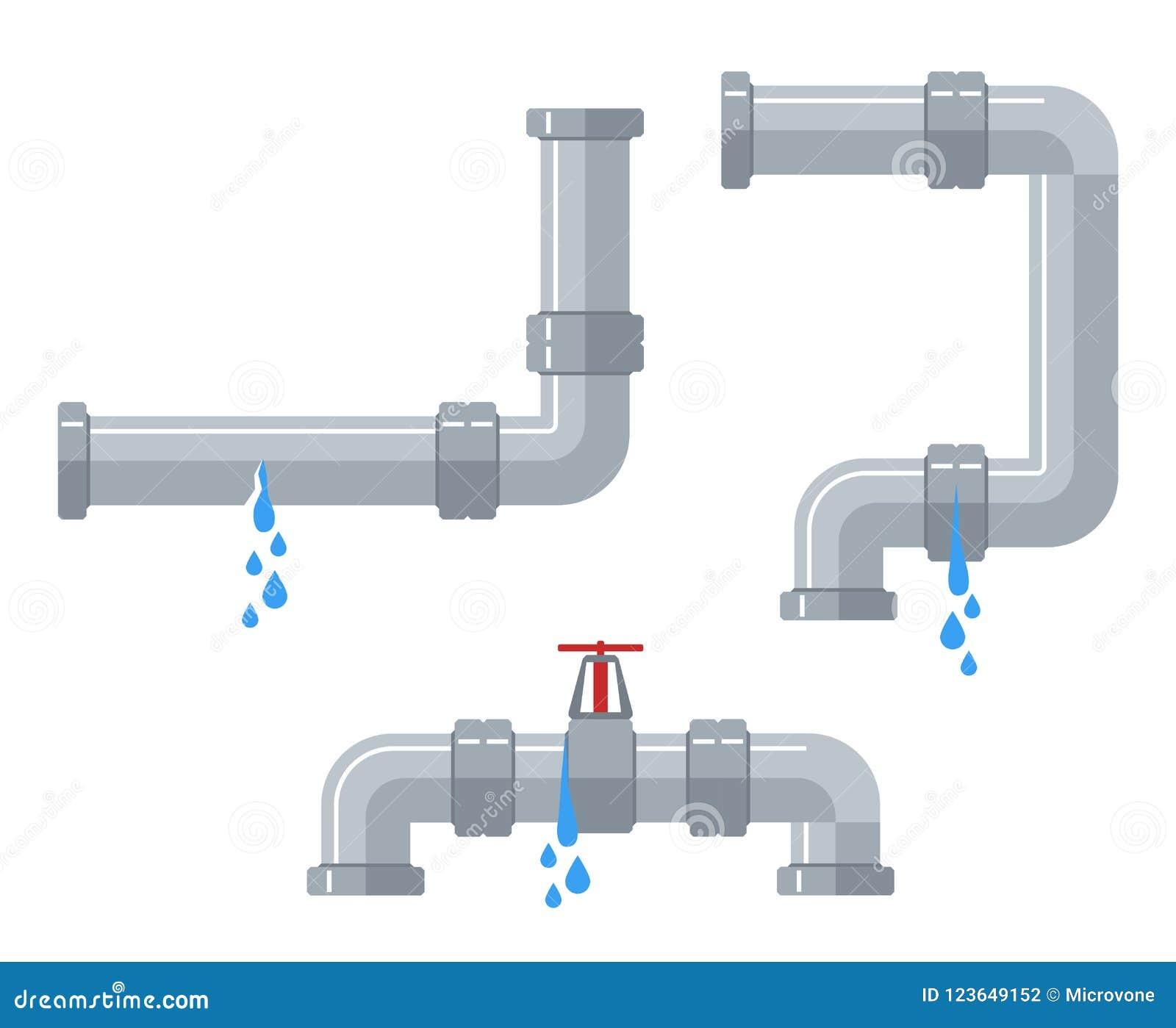 漏的水管 与漏出的残破的钢和塑料管道,漏的阀门,滴下的配件传染媒介集合