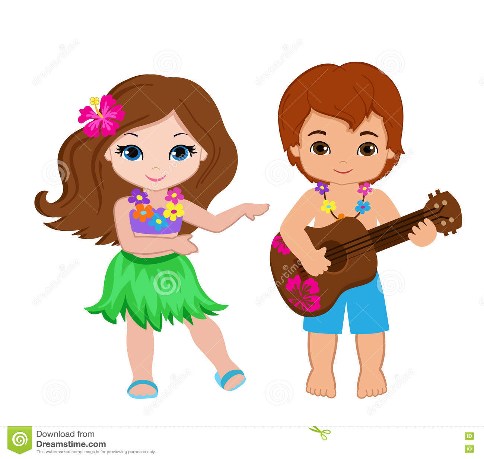 演奏吉他和夏威夷女孩hula跳舞的男孩的例证