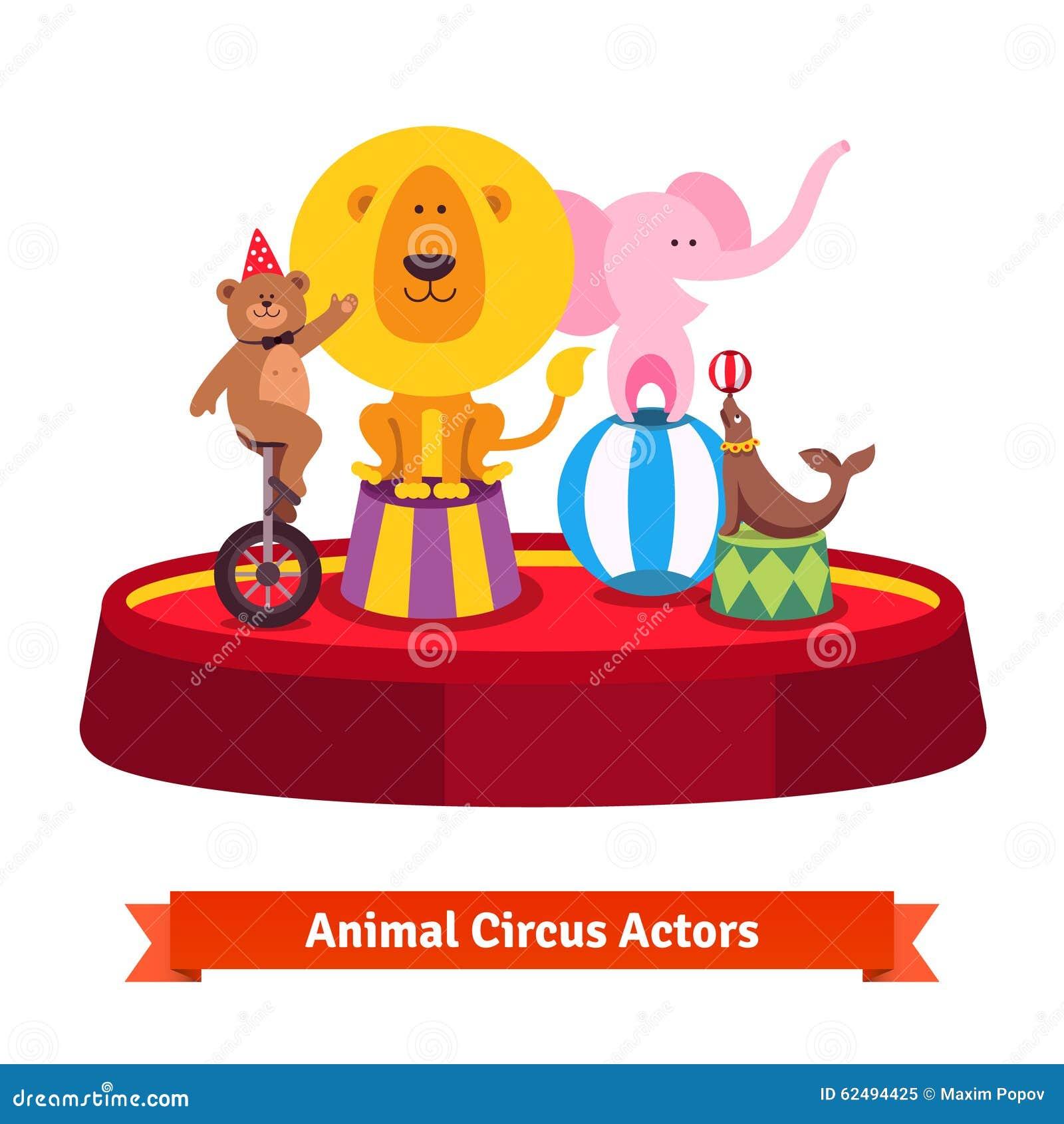演奏在红色竞技场的马戏团动物展示 涉及一辆单轮脚踏车,大象在球图片