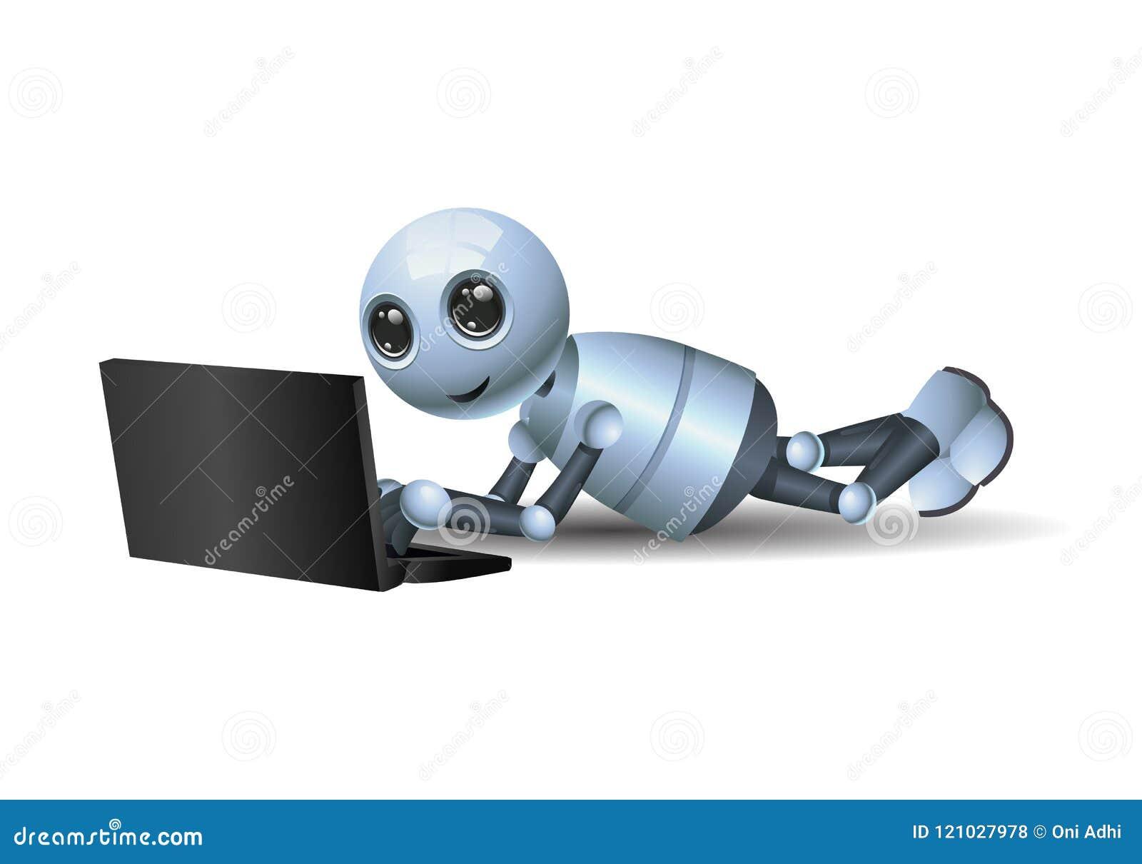 演奏在被隔绝的白色背景的一点机器人膝上型计算机