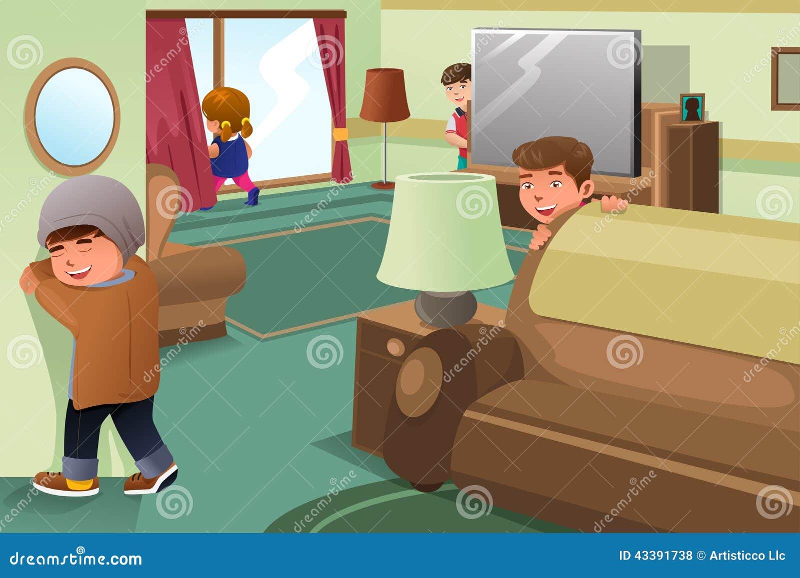 玩捉迷藏的孩子的传染媒介例证.图片