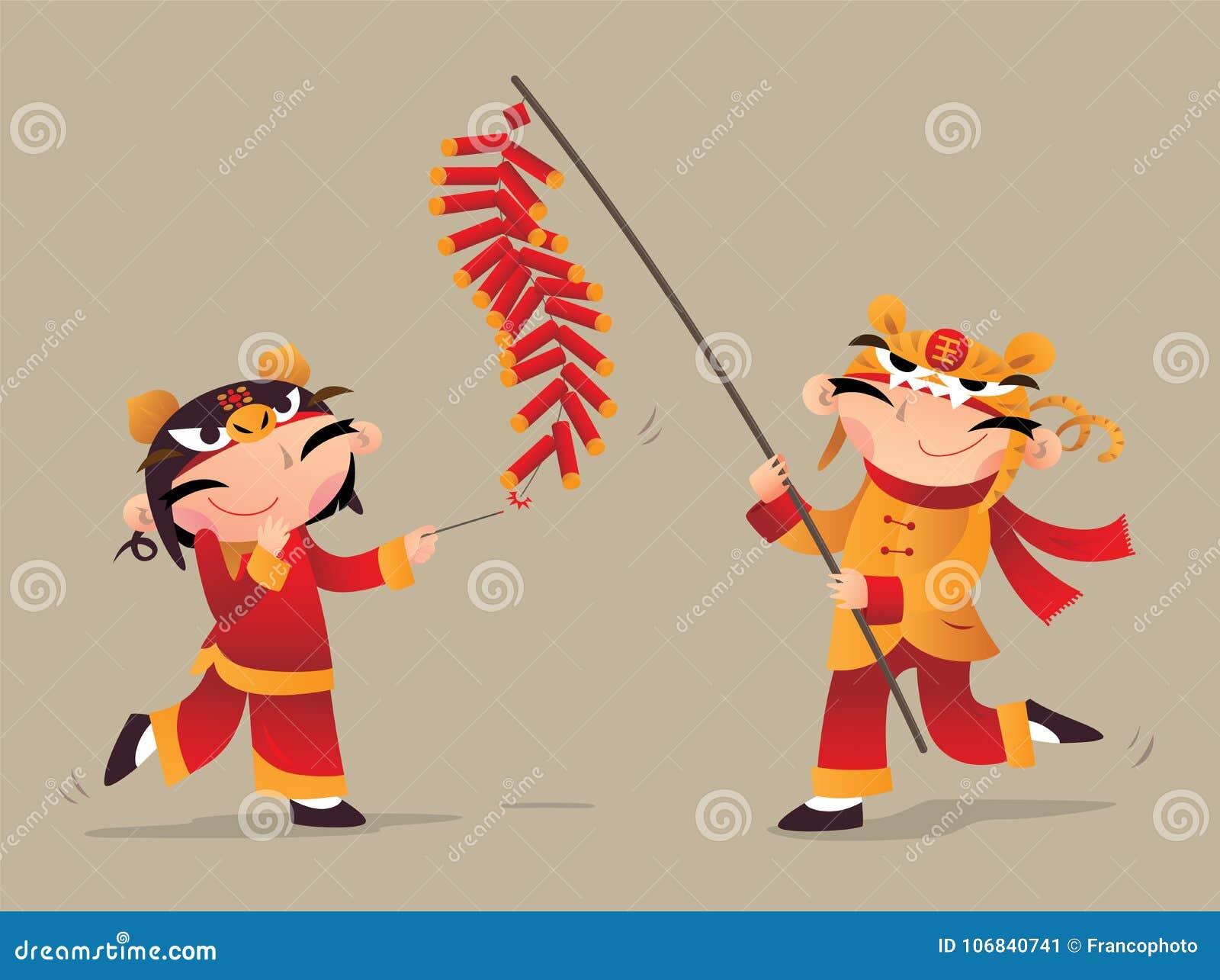 演奏爆竹的两个中国孩子庆祝农历新年来