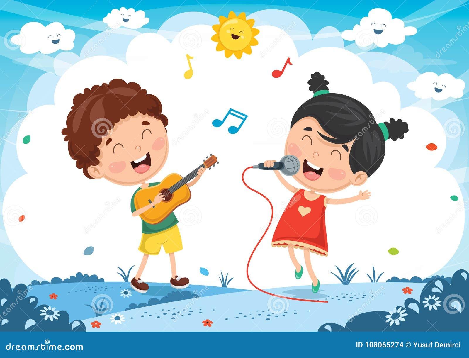 演奏音乐和唱歌的孩子的传染媒介例证