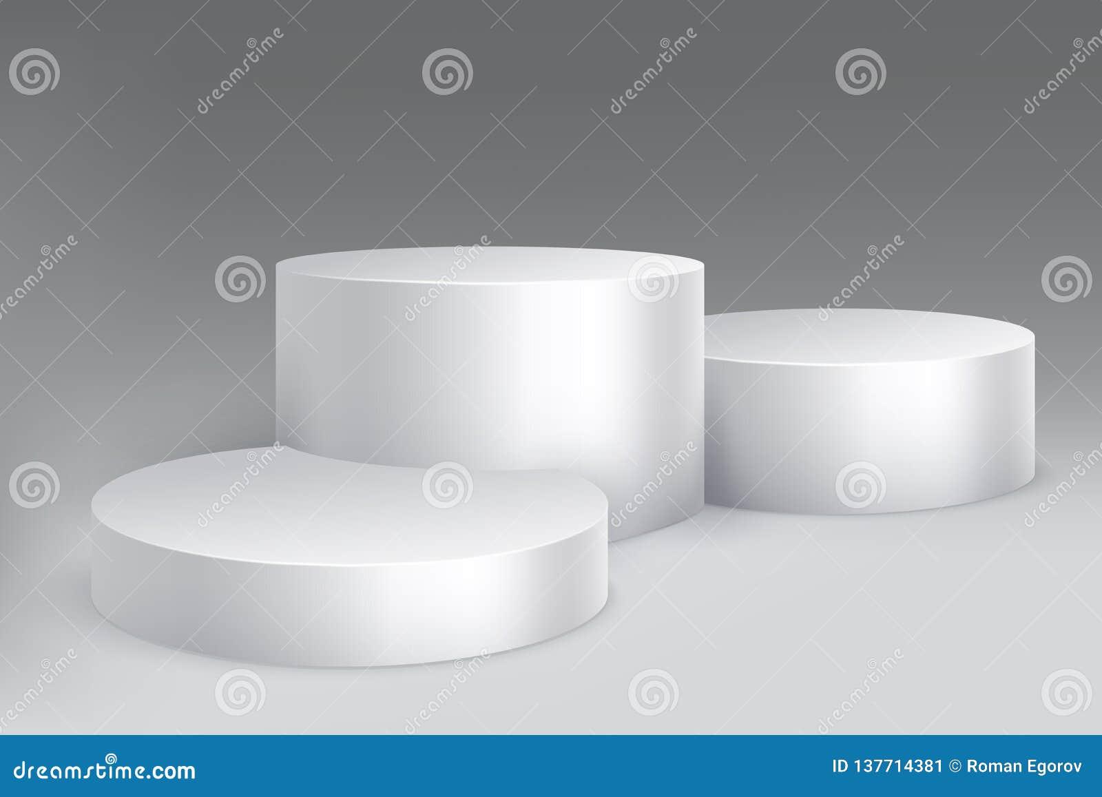 演播室指挥台 大理石立场柱子基地,与圆筒的垫座 空的白色博览会陈列室被隔绝的大模型
