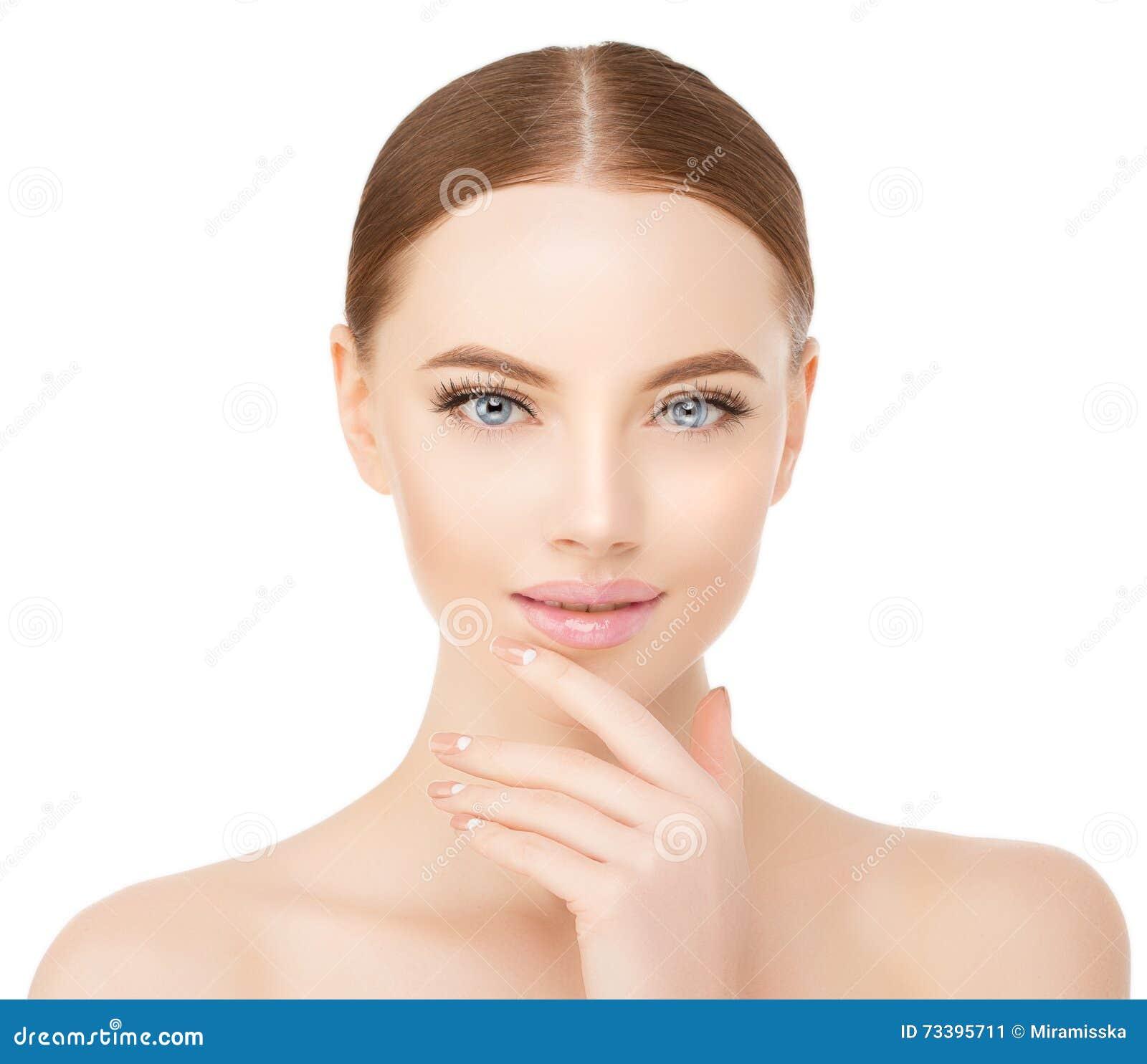 演播室的美好的妇女面孔关闭白色的 秀丽温泉模型