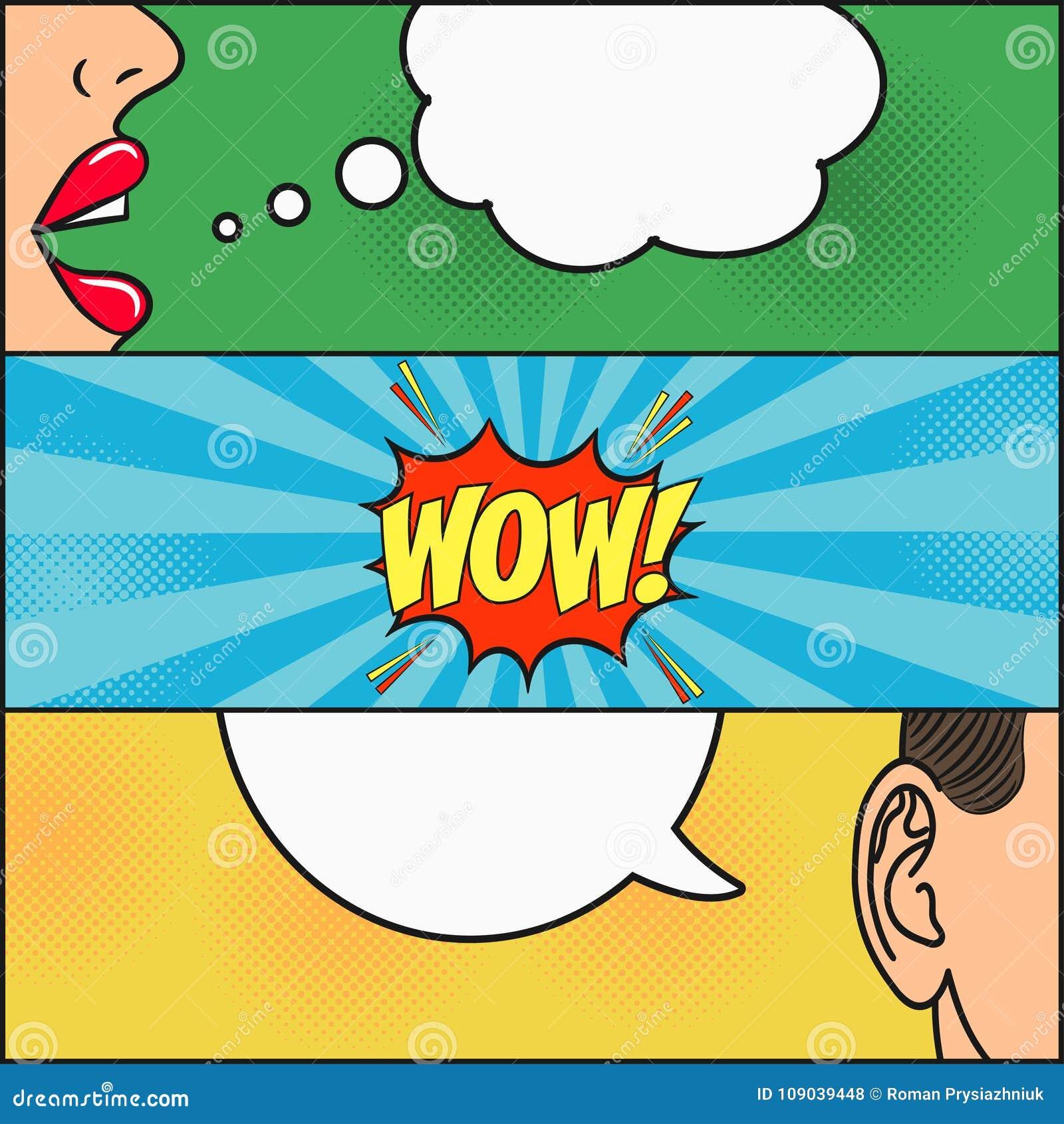 漫画书页设计  有讲话的女孩对话和人起泡激动- WOW 妇女嘴唇和供以人员耳朵 向量