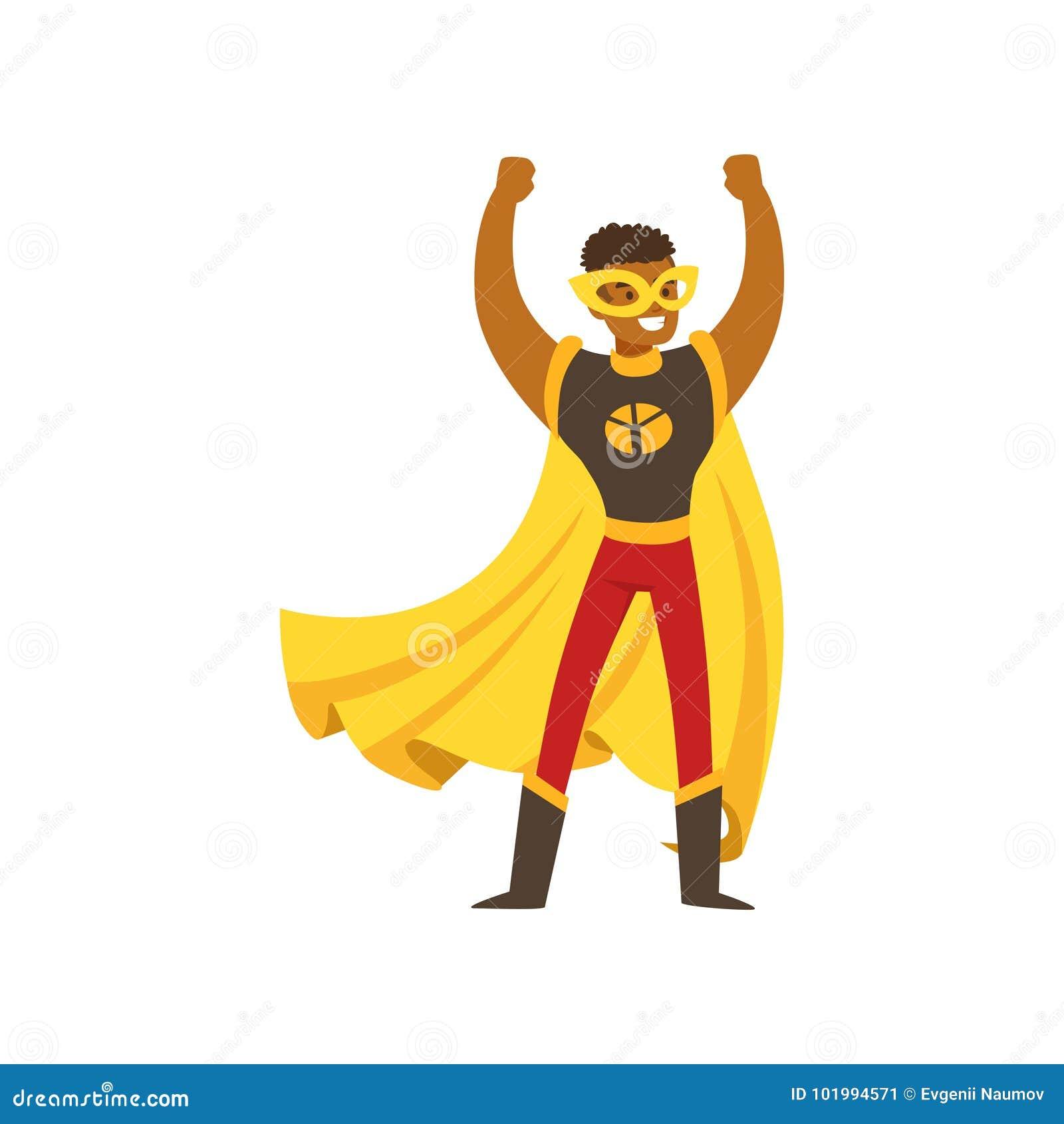 漫画服装的黑人男性超级英雄站立用手