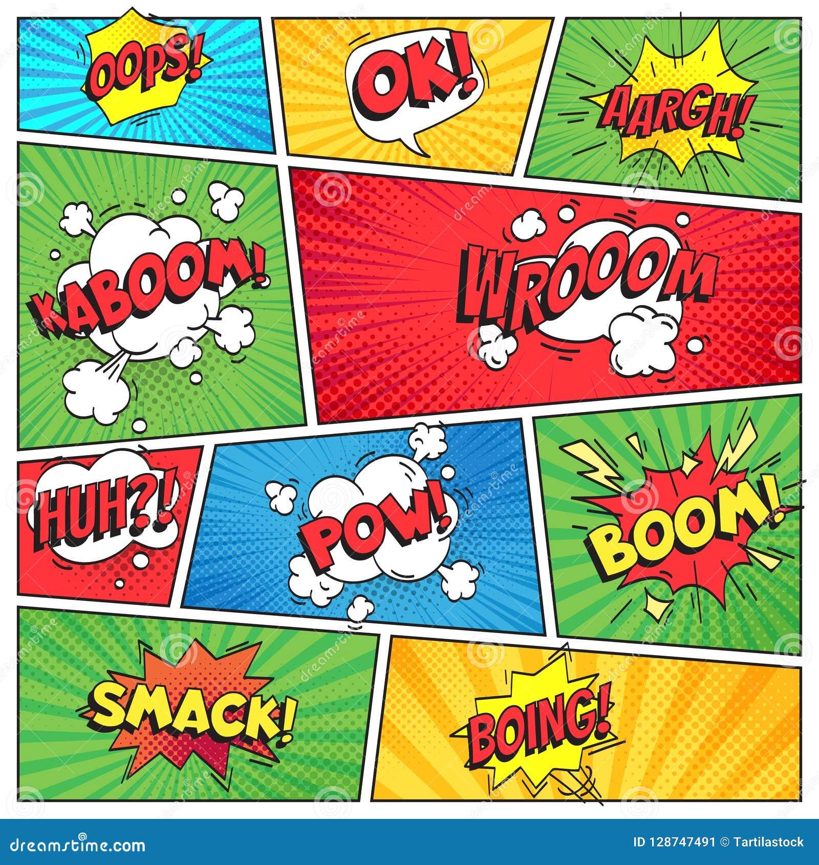 漫画页 漫画书栅格框架,滑稽的哟bam击响文本在颜色条纹背景传染媒介布局的讲话泡影