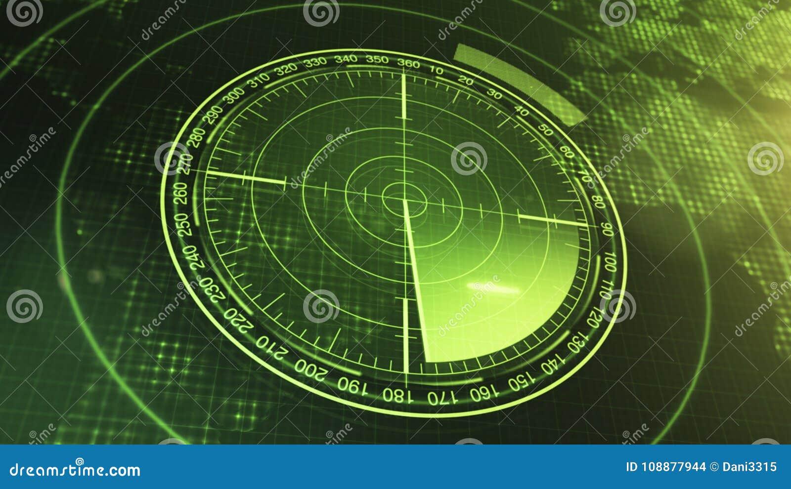 潜水艇和船的生波探侧器屏幕 有对象的雷达生波探侧器在地图