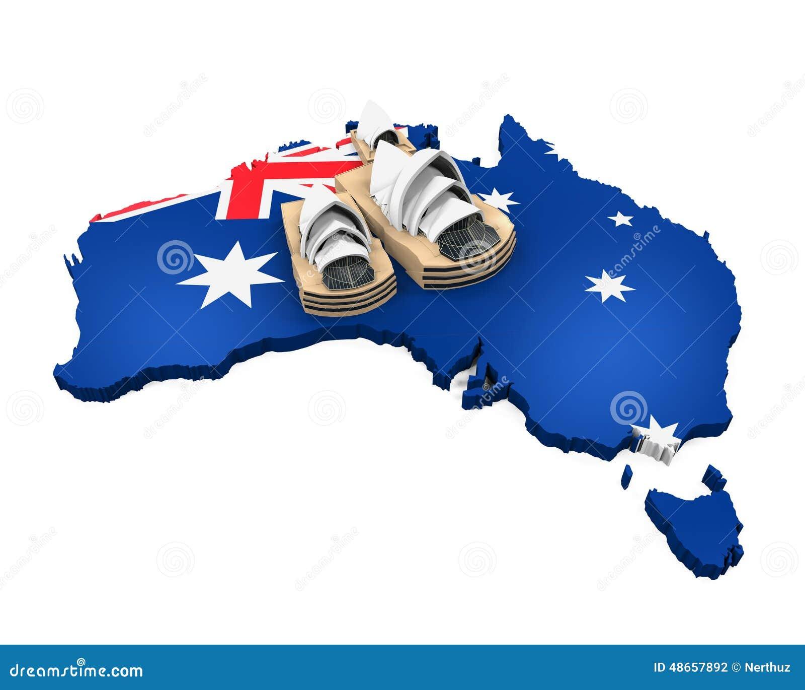 在白色背景隔绝的澳大利亚和悉尼歌剧院地图 3d回报.图片