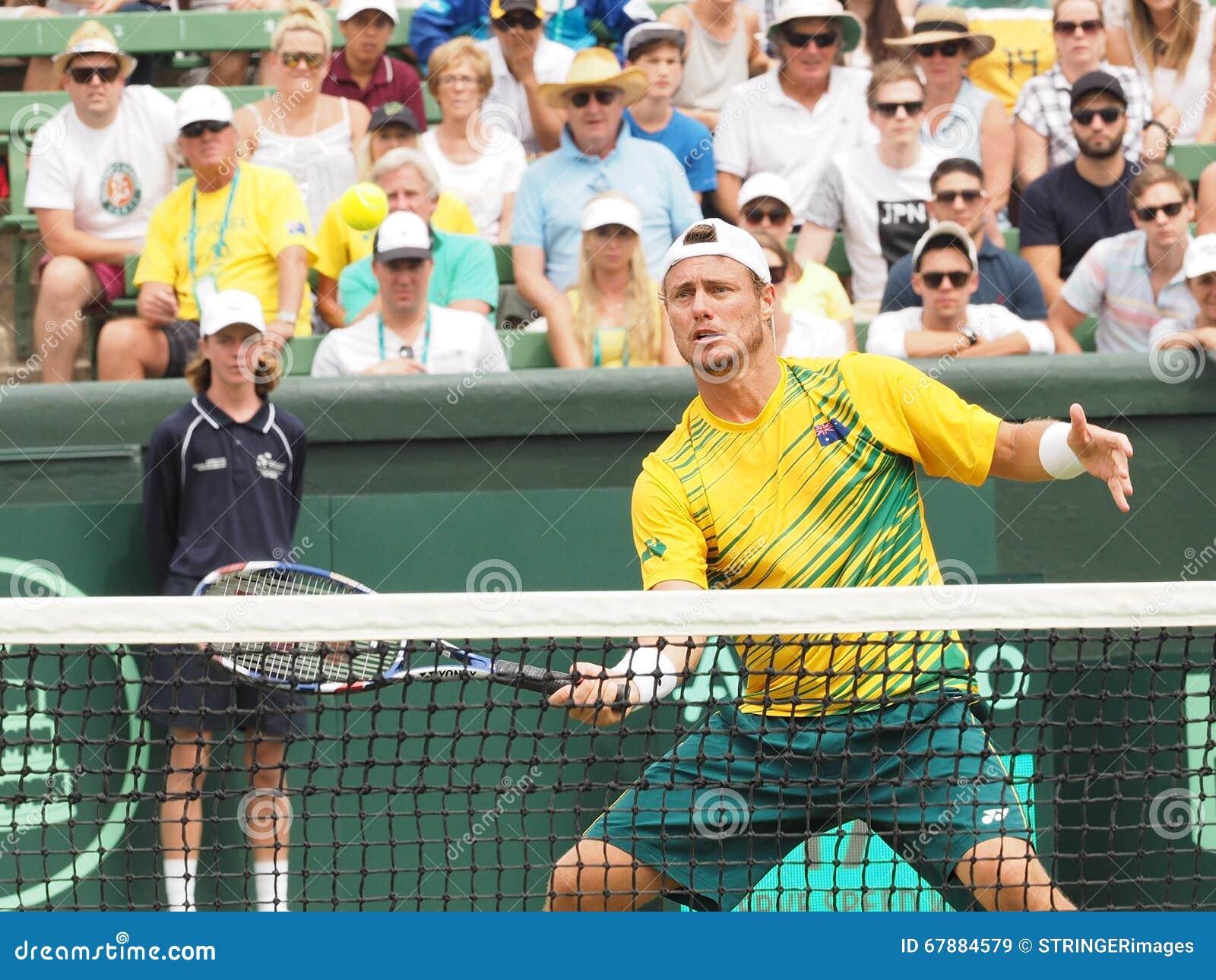 澳大利亚网球员在戴维斯杯期间的Llayton休伊特加倍对美国