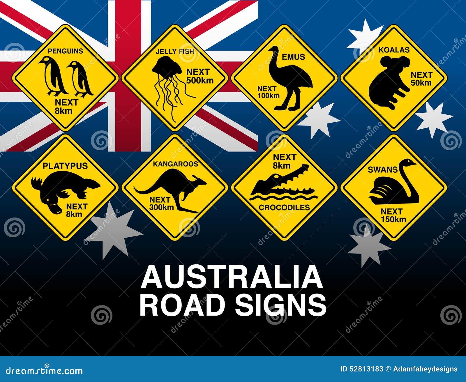 澳大利亚黄色与旗子的路警报信号